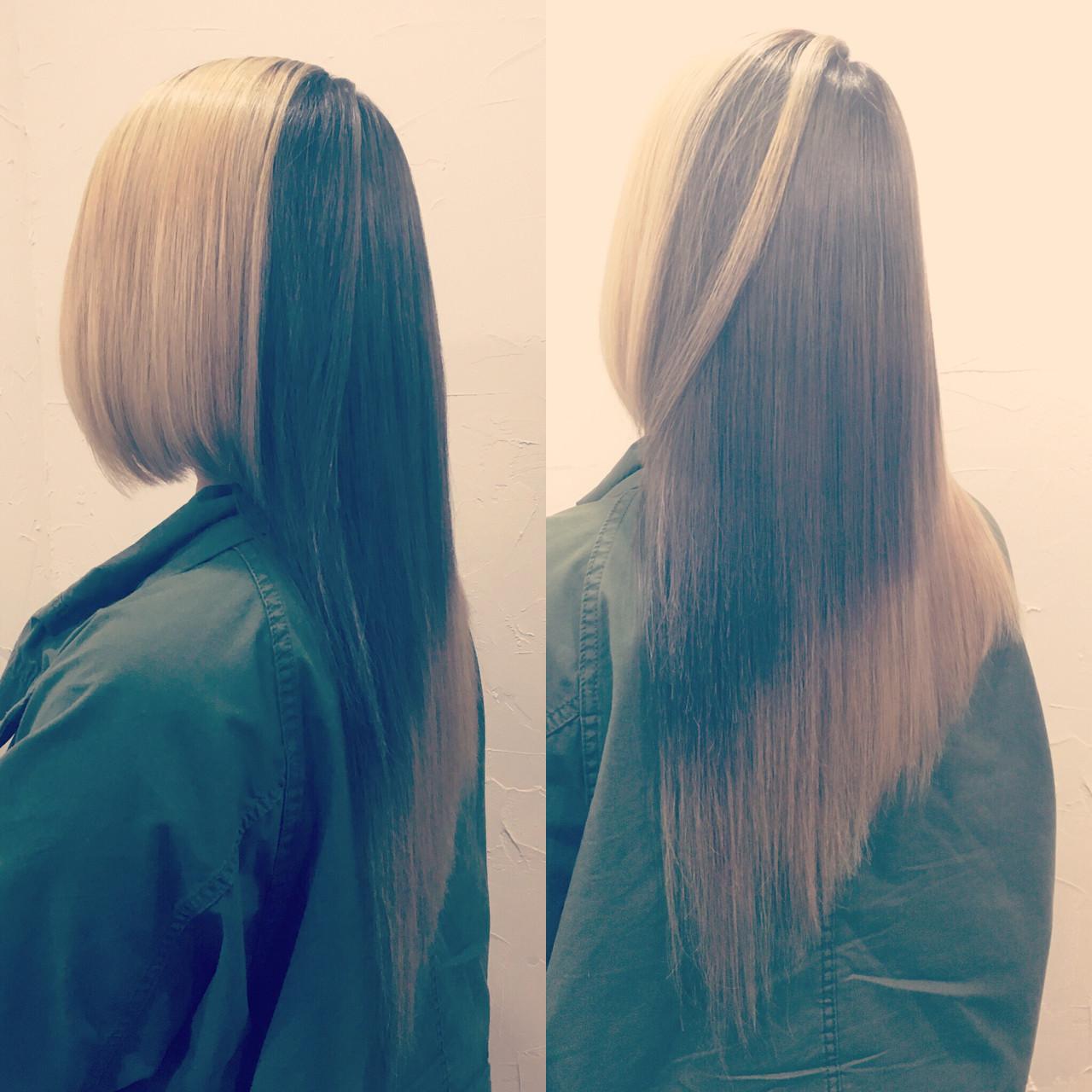 ロング ストリート ダブルカラー アシメバング ヘアスタイルや髪型の写真・画像