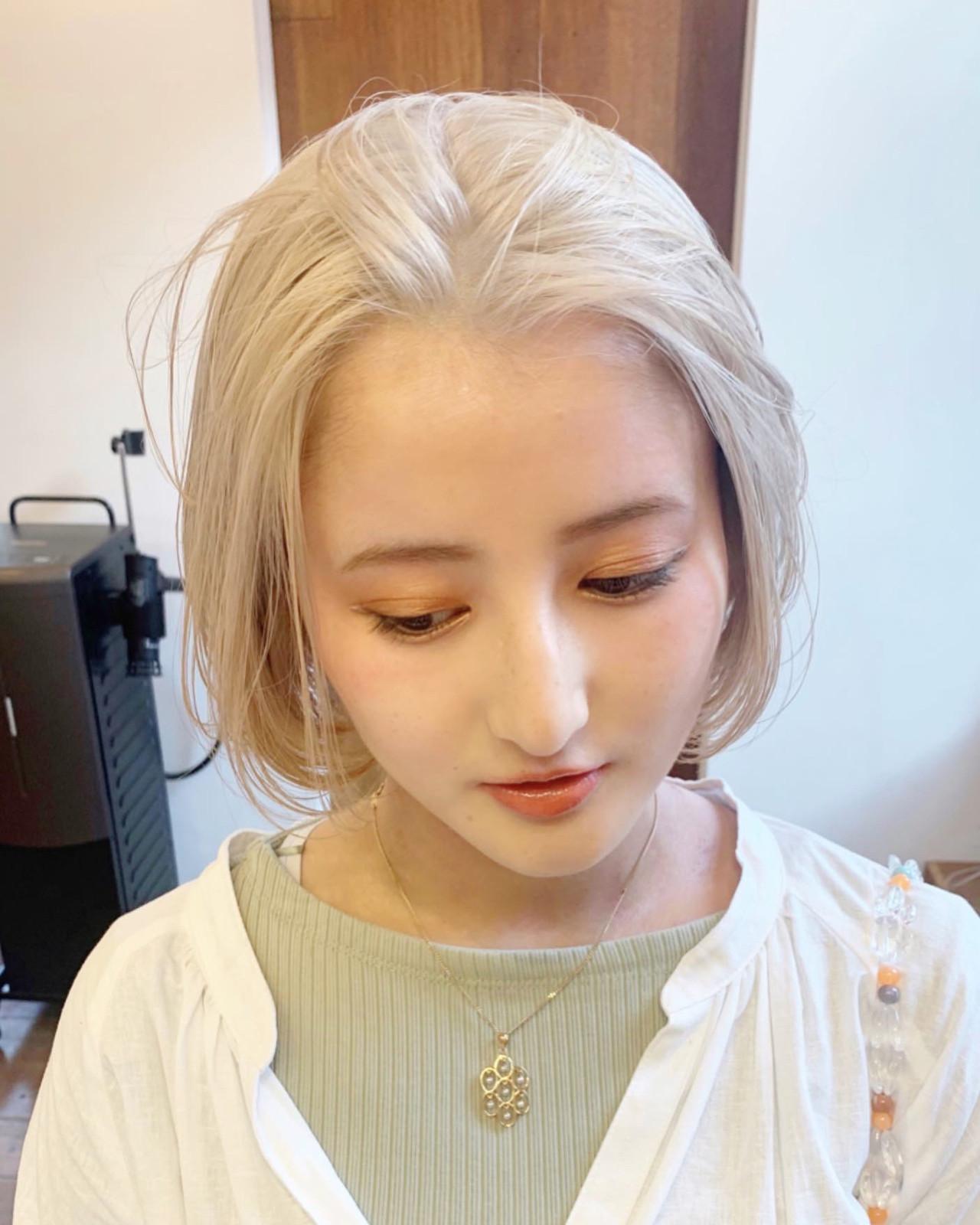 ハイトーンカラー ブロンドカラー ハイトーン ホワイトカラー ヘアスタイルや髪型の写真・画像