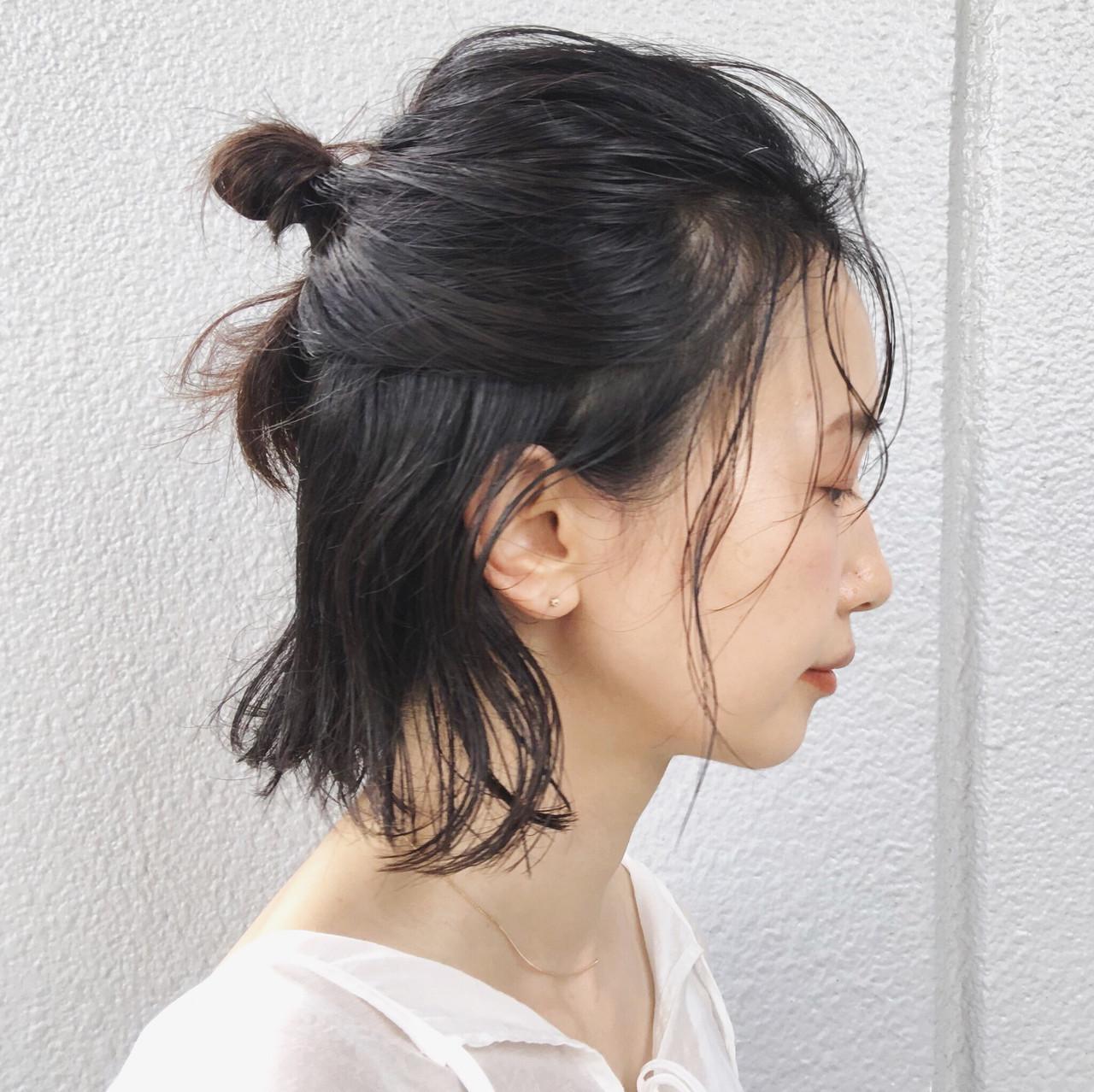 セルフアレンジ 簡単ヘアアレンジ ハーフアップ ナチュラル ヘアスタイルや髪型の写真・画像