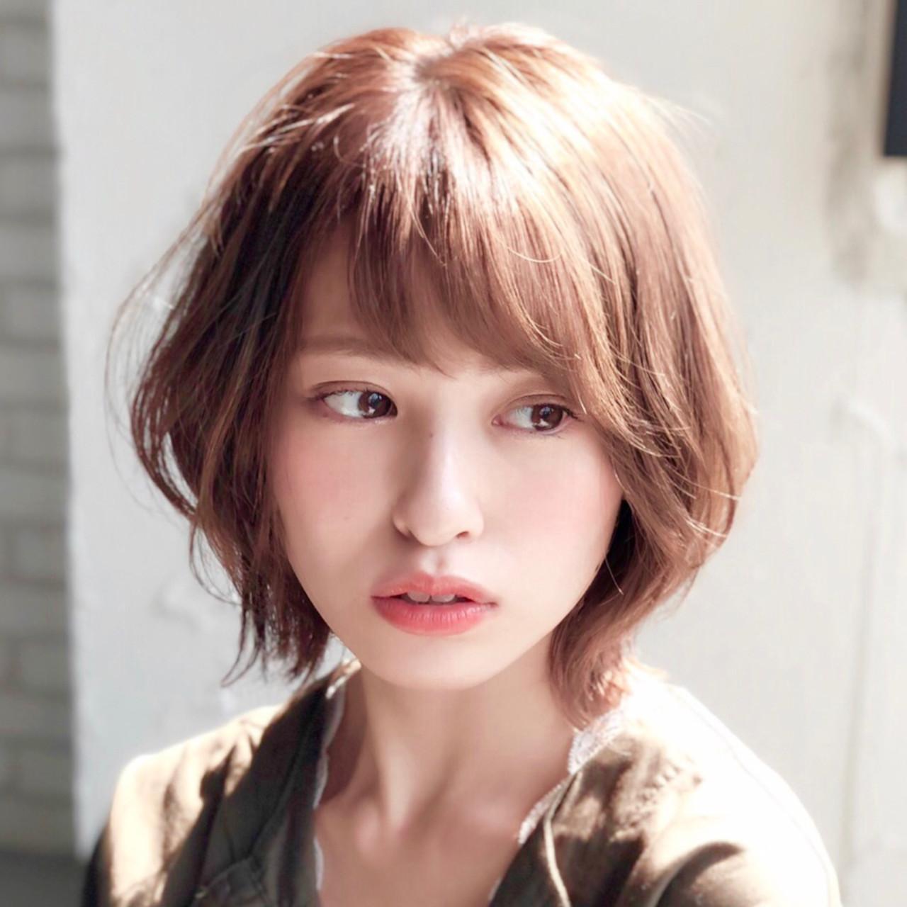 小顔ショート ひし形 簡単ヘアアレンジ ショート ヘアスタイルや髪型の写真・画像