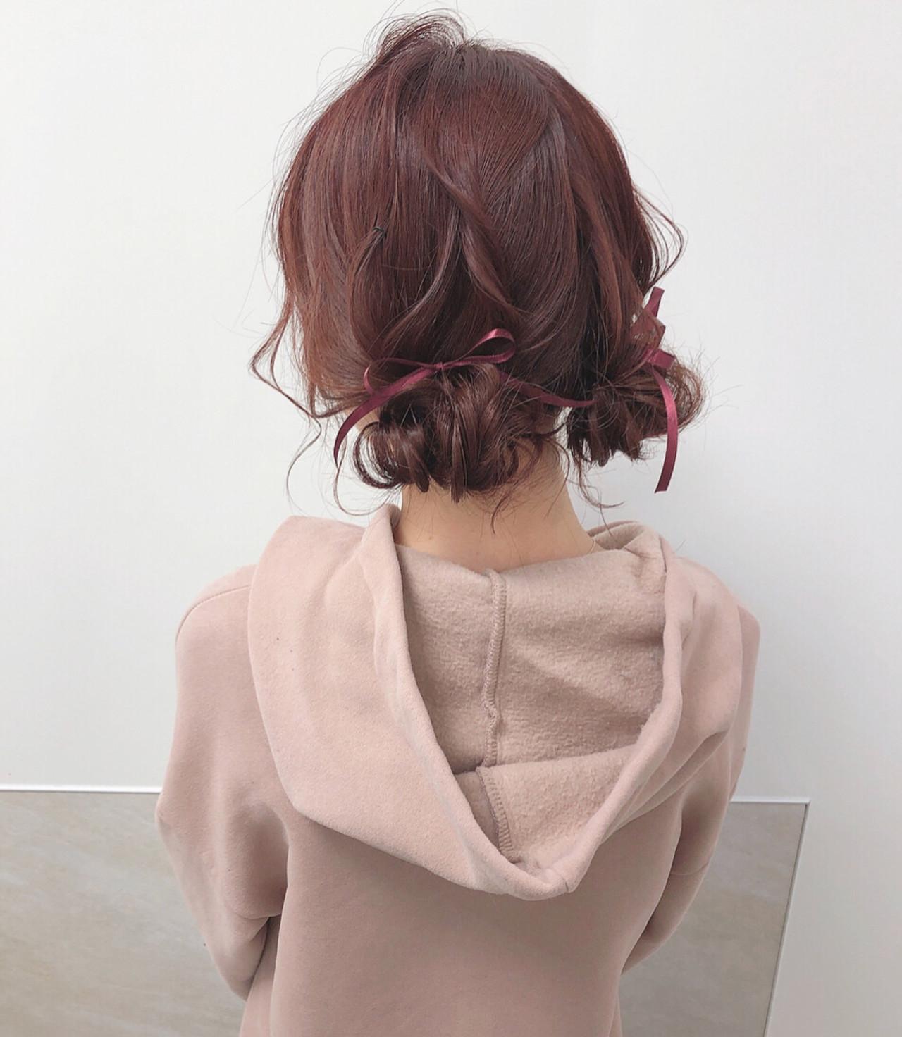 ツインお団子 ピンクブラウン ガーリー ヘアアレンジ ヘアスタイルや髪型の写真・画像