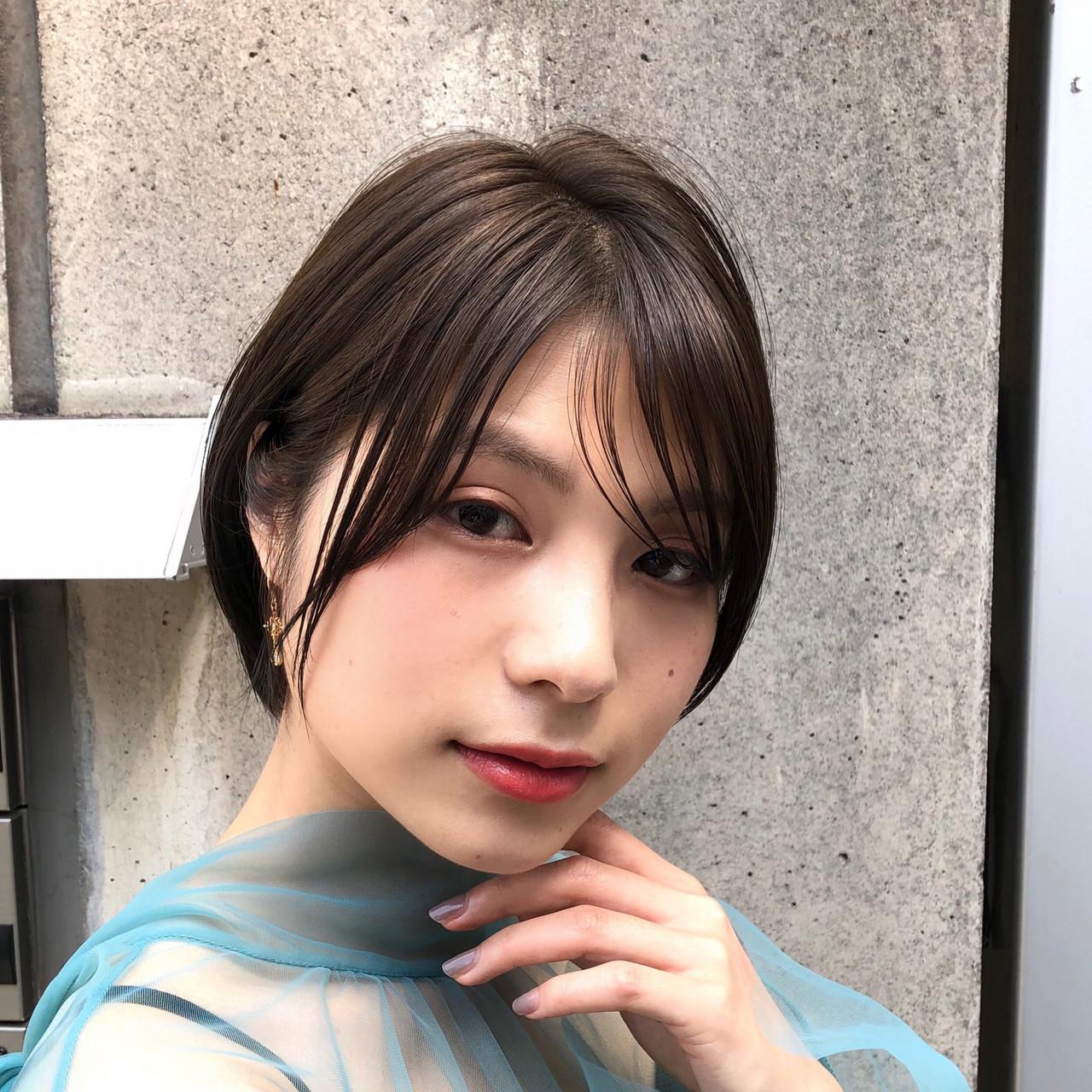 透明感カラー 大人かわいい ナチュラル ショートボブ ヘアスタイルや髪型の写真・画像