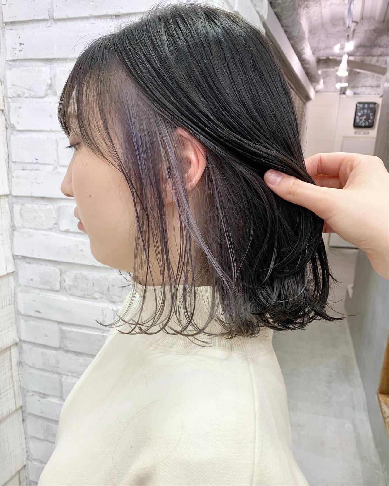 インナーカラー アッシュグレージュ 透明感 ボブ ヘアスタイルや髪型の写真・画像