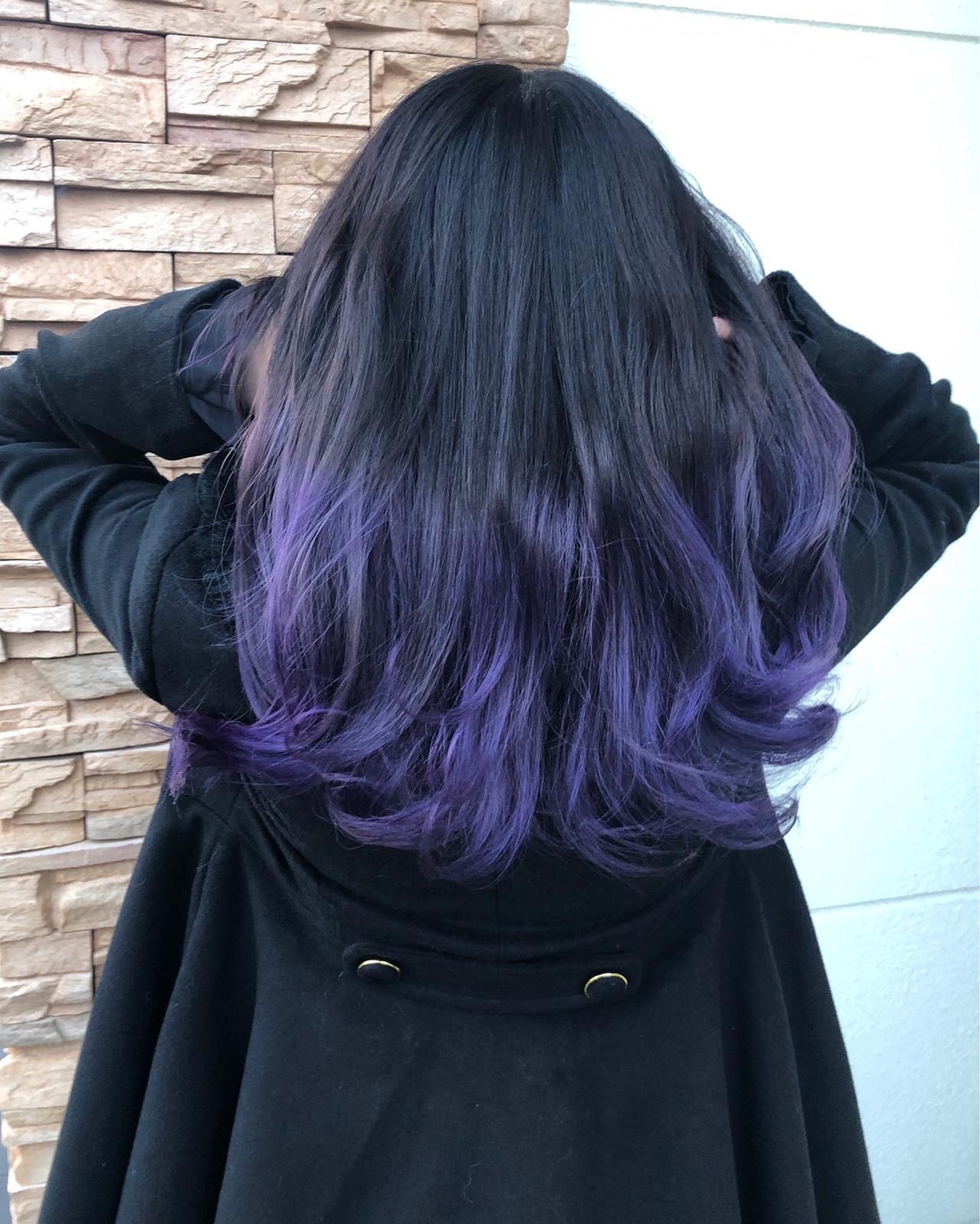 ストリート デザインカラー セミロング 紫 ヘアスタイルや髪型の写真・画像