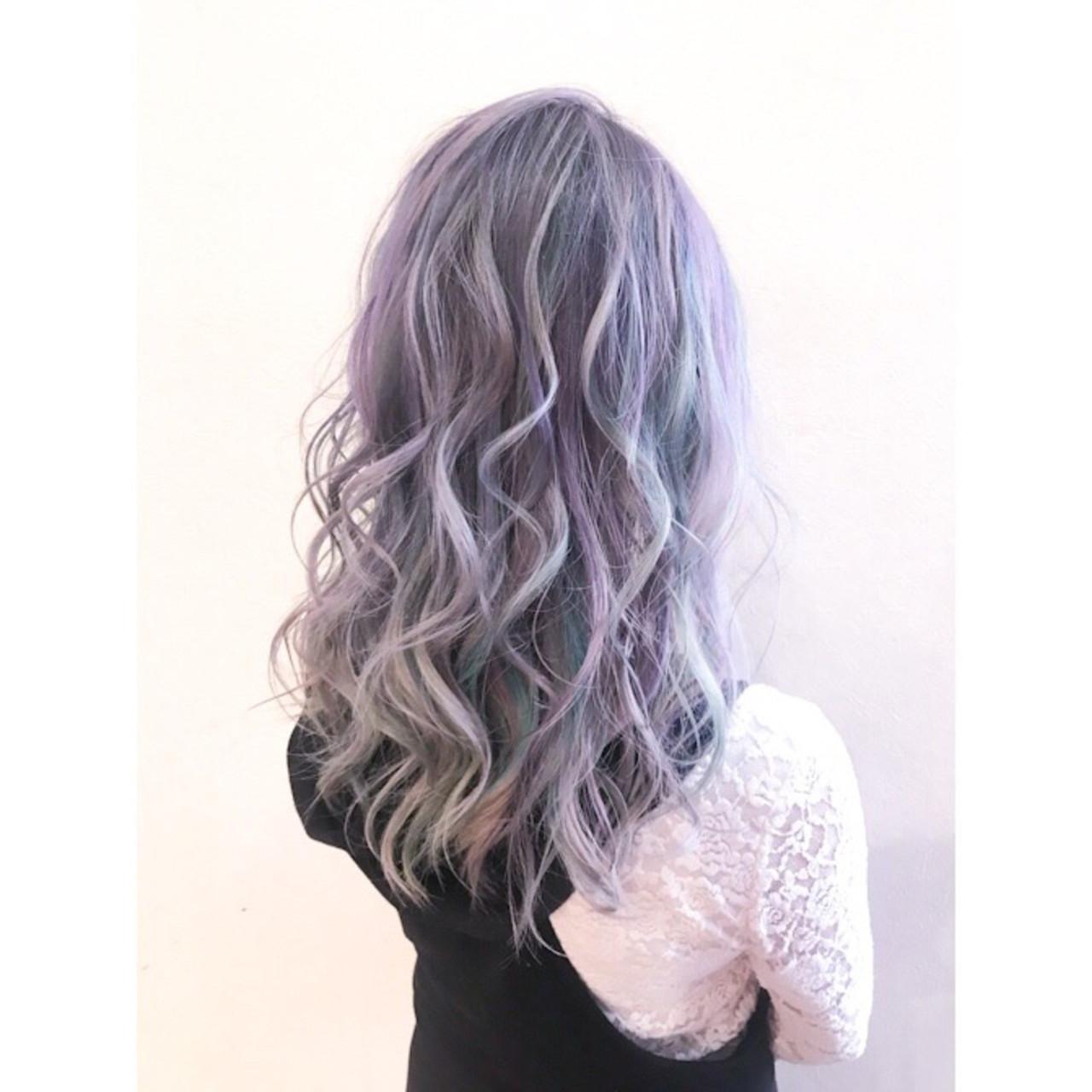 オーロラカラー ブリーチカラー ユニコーンカラー ロング ヘアスタイルや髪型の写真・画像