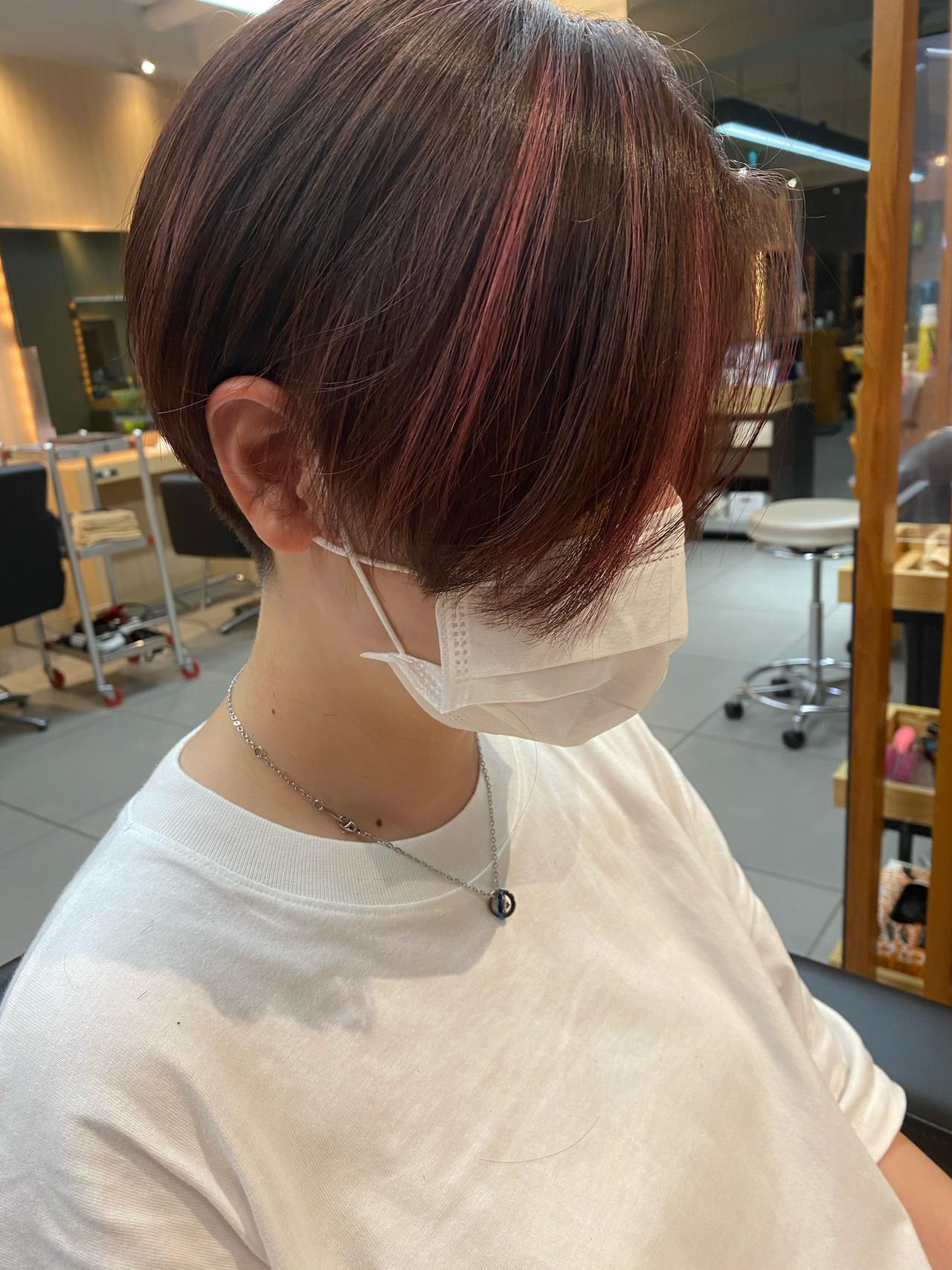 ツーブロック ハイライト ハンサムショート ピンク ヘアスタイルや髪型の写真・画像
