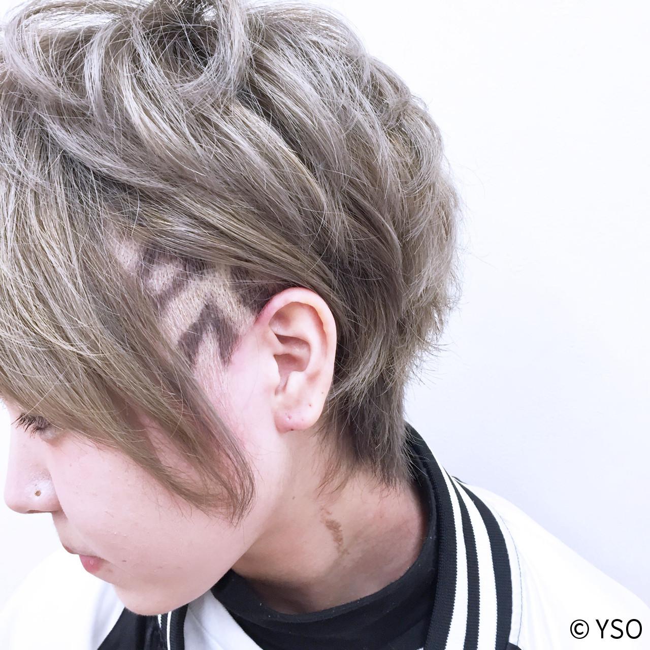 ショート 刈り上げ アシメバング ハイライト ヘアスタイルや髪型の写真・画像