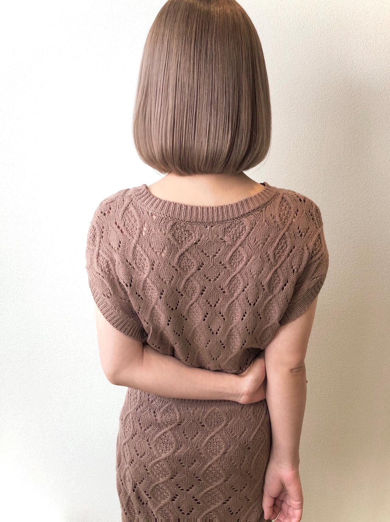 ナチュラル ボブ ミルクティーグレージュ ミルクティーベージュ ヘアスタイルや髪型の写真・画像