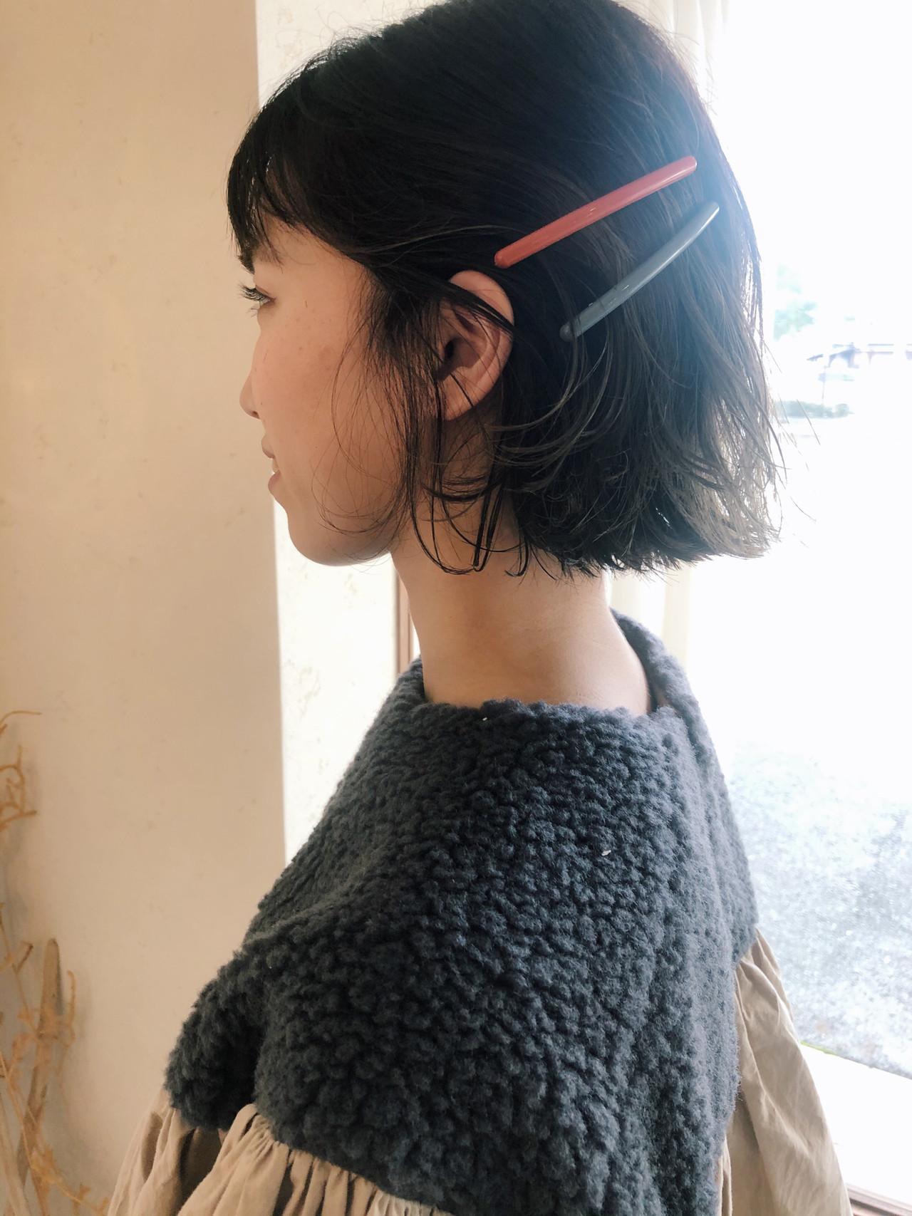 ヘアアレンジ ナチュラル ボブ ミニボブ ヘアスタイルや髪型の写真・画像