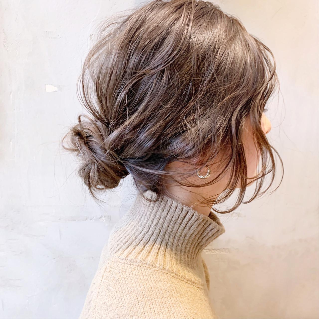 お団子アレンジ 簡単ヘアアレンジ 透明感カラー ロング ヘアスタイルや髪型の写真・画像