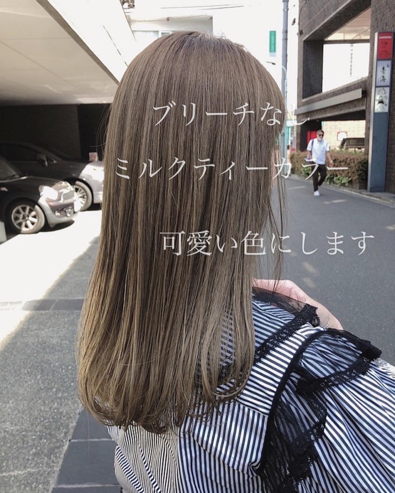 ナチュラル ミルクティーベージュ ミディアム ミルクティーブラウン ヘアスタイルや髪型の写真・画像