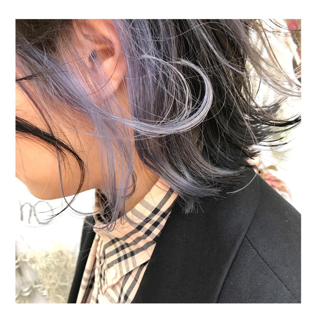 ハイトーン デザインカラー インナーカラー ラベンダーグレー ヘアスタイルや髪型の写真・画像