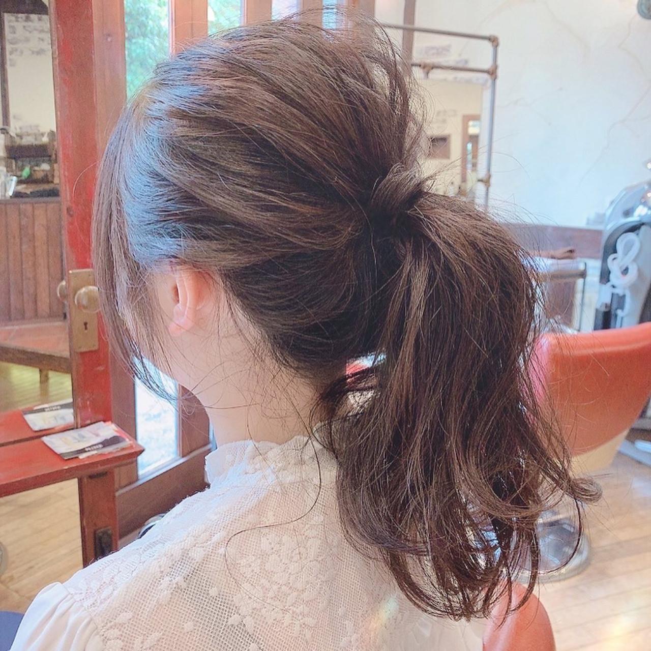 ナチュラル 大人可愛い セミロング セルフヘアアレンジ ヘアスタイルや髪型の写真・画像
