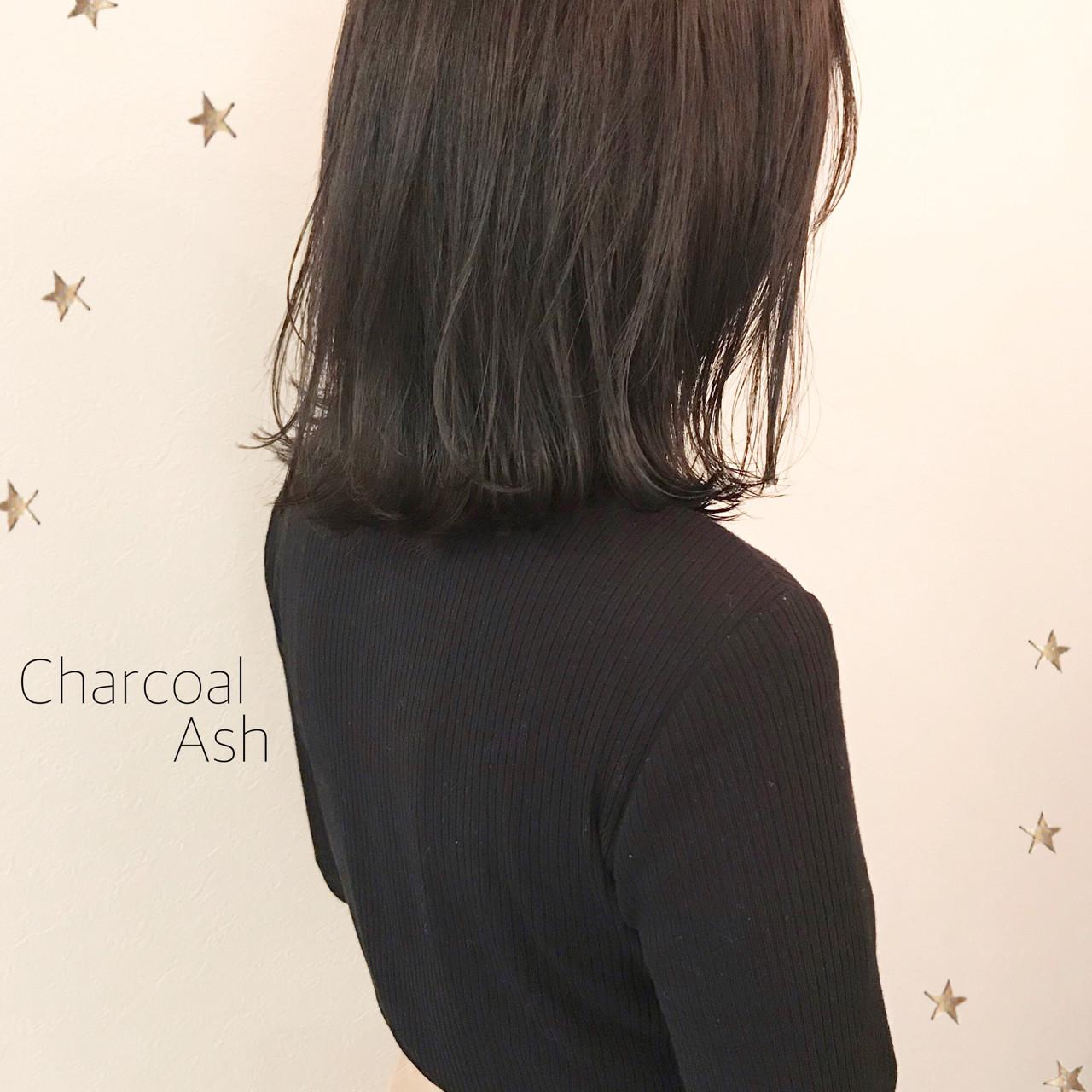 暗髪 ミディアム ナチュラル ロブ ヘアスタイルや髪型の写真・画像