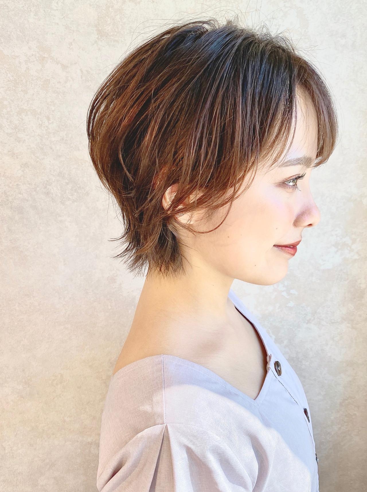 耳掛けショート ショート ニュアンスウルフ ウルフ女子 ヘアスタイルや髪型の写真・画像