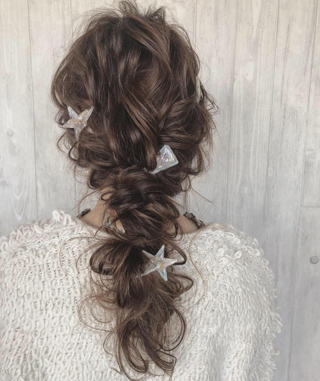 ロング 結婚式 デート お呼ばれヘア ヘアスタイルや髪型の写真・画像