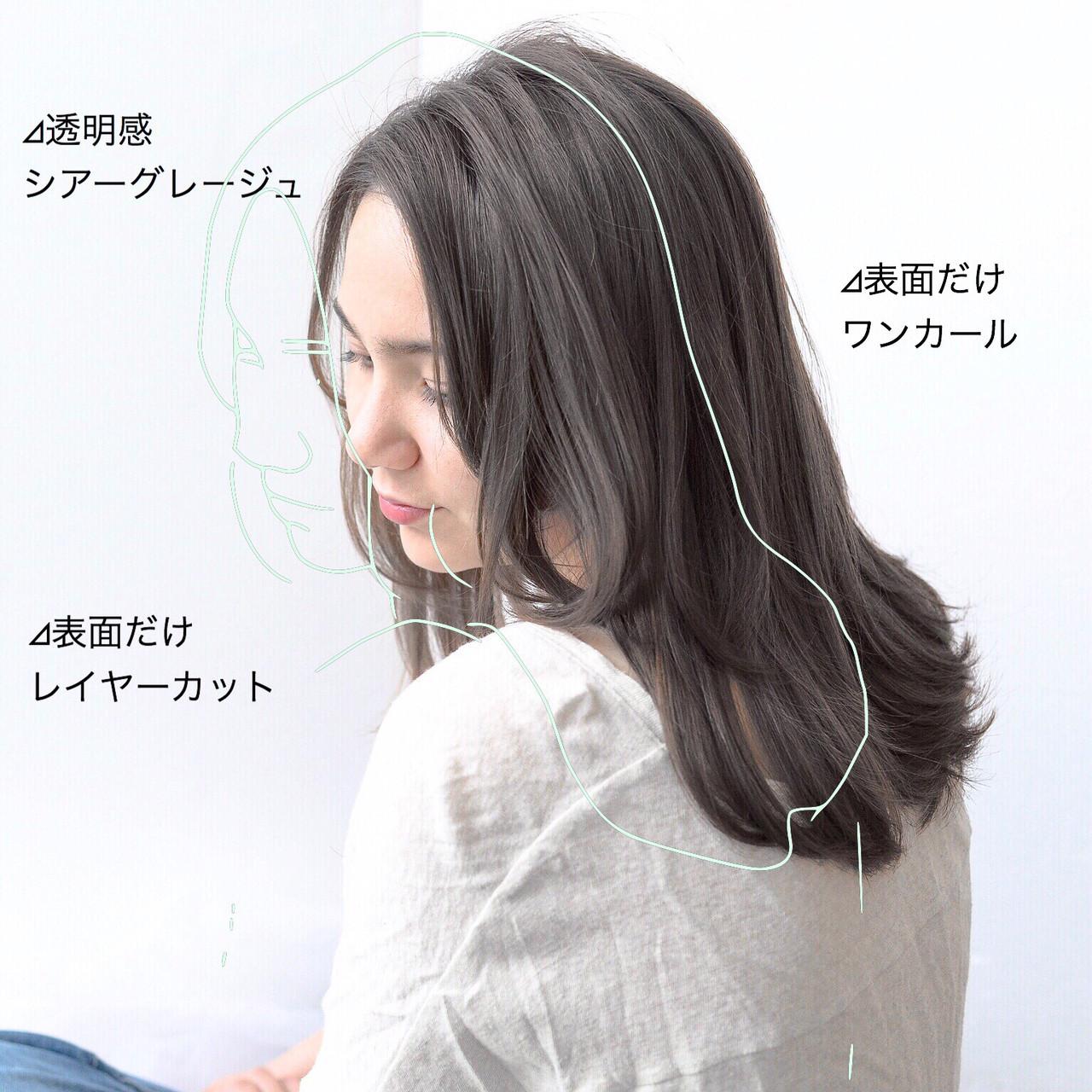 縮毛矯正 グレージュ セミロング ストレート ヘアスタイルや髪型の写真・画像