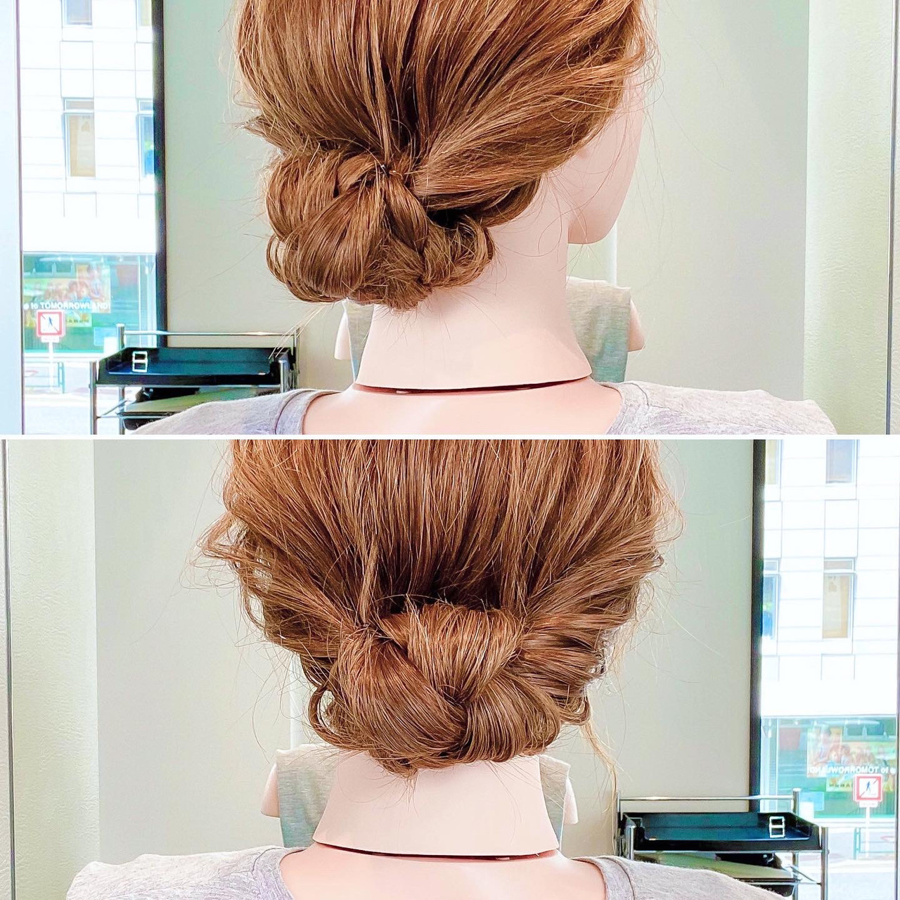 三つ編み くるりんぱ ヘアアレンジ フェミニン ヘアスタイルや髪型の写真・画像