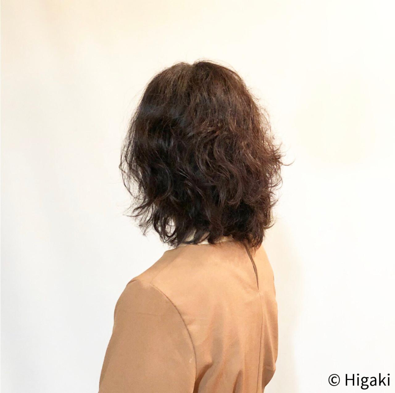 簡単スタイリング ゆるナチュラル カーリーヘアー ミディアム ヘアスタイルや髪型の写真・画像