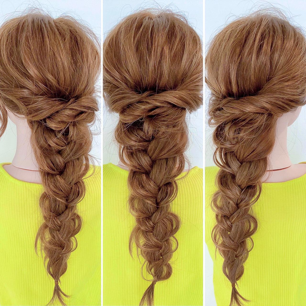 ロング フェミニン 編み込み ヘアアレンジ ヘアスタイルや髪型の写真・画像