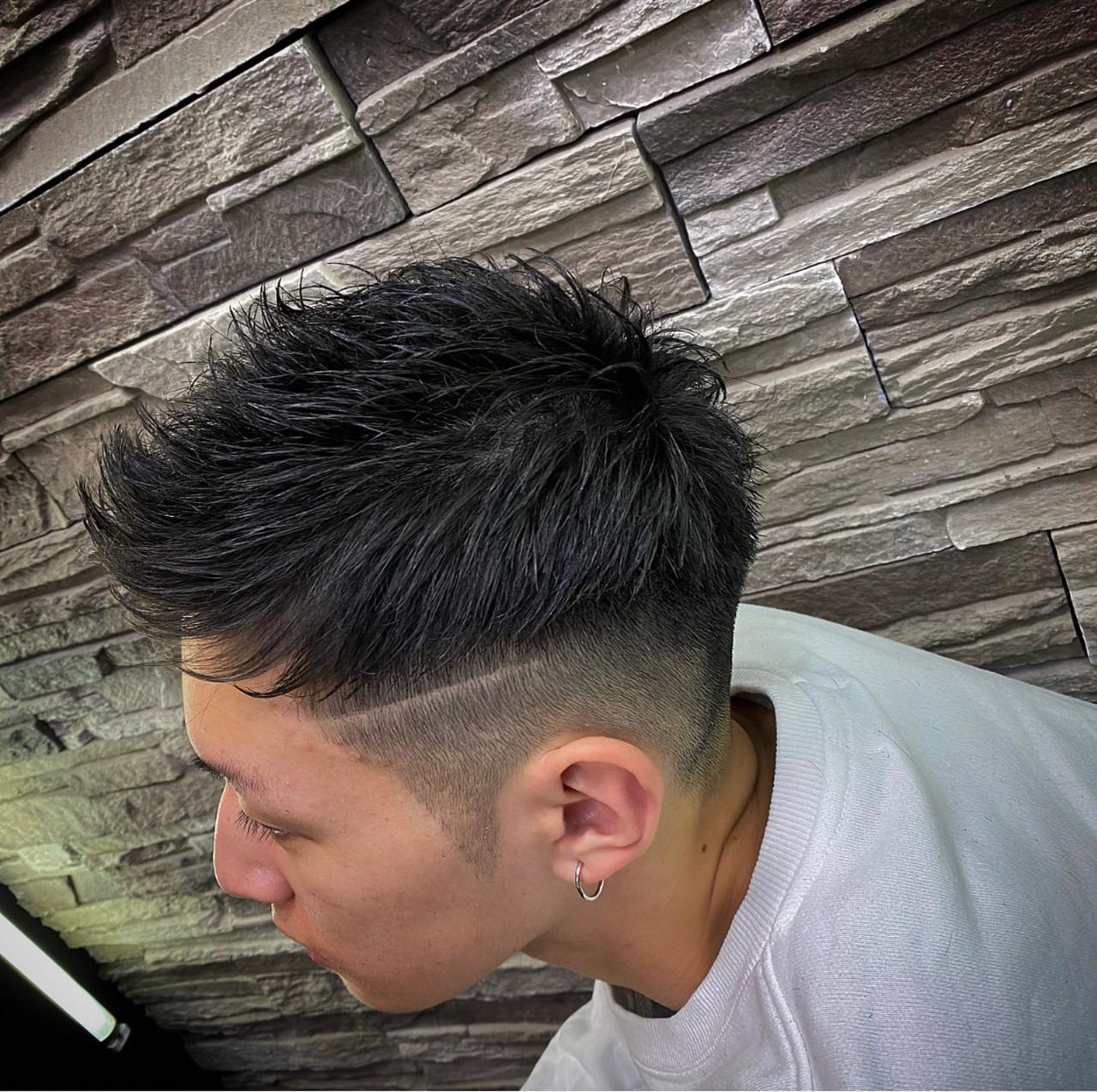 メンズカット フェードカット メンズパーマ ショート ヘアスタイルや髪型の写真・画像