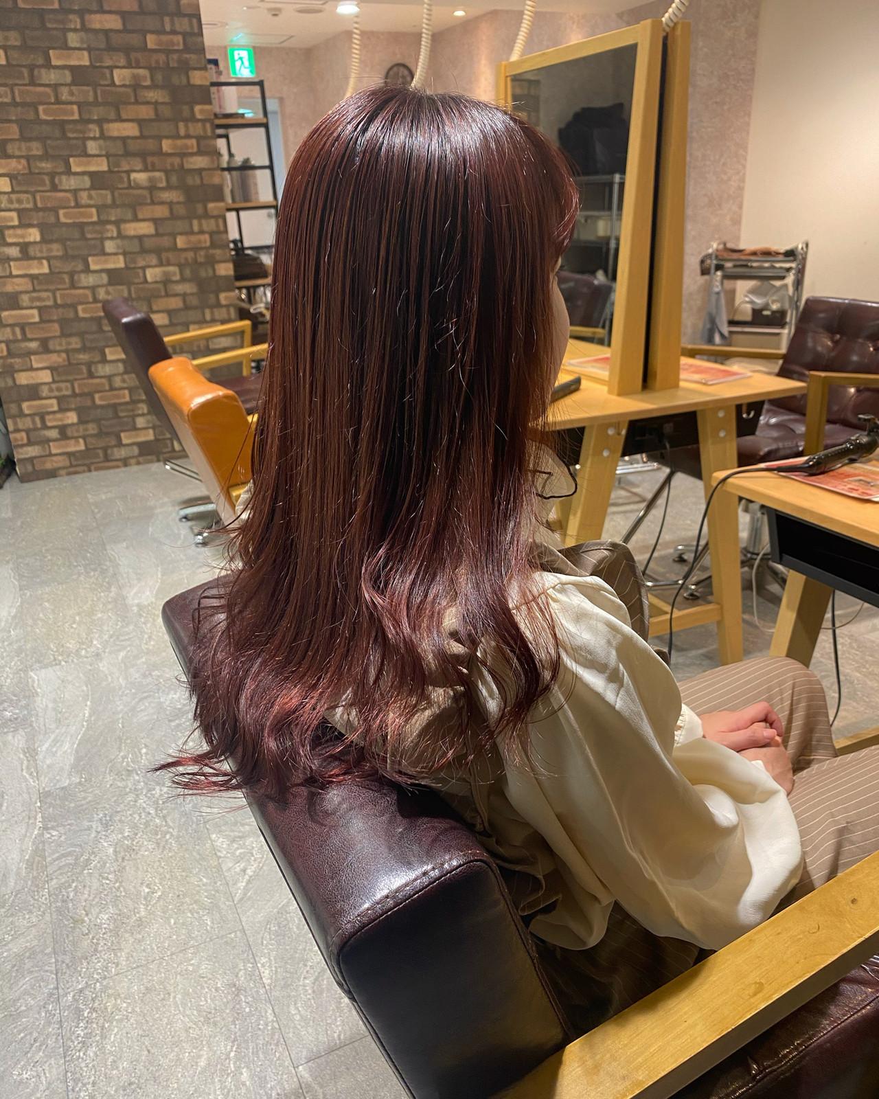 ロングヘア イルミナカラー ナチュラル ピンク ヘアスタイルや髪型の写真・画像