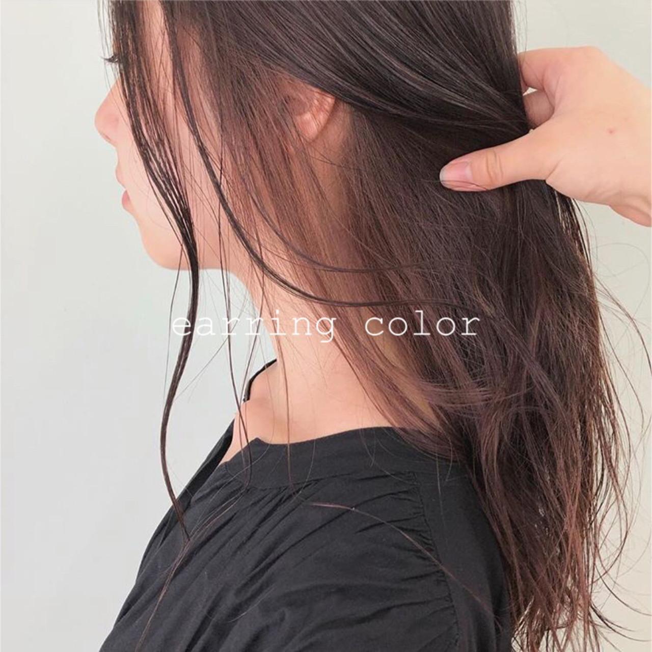 透明感カラー インナーカラー ナチュラル ピンクベージュ ヘアスタイルや髪型の写真・画像