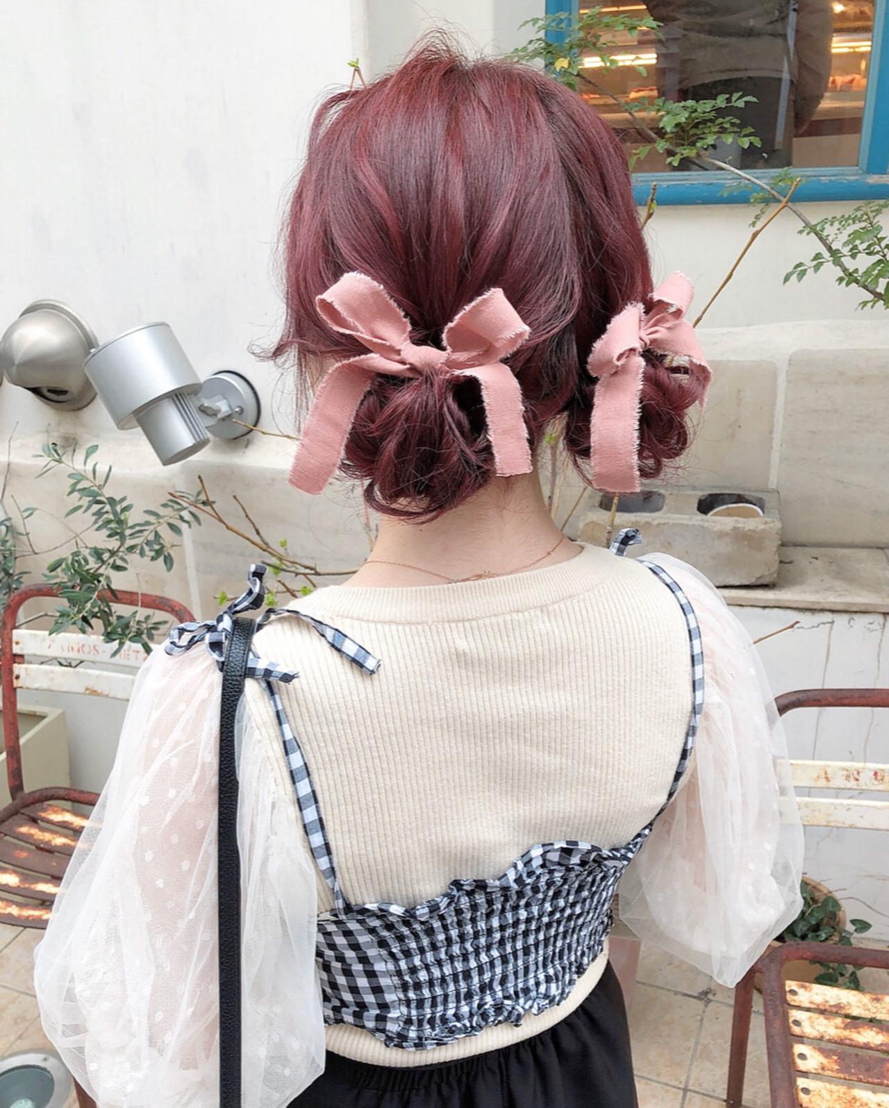 大人可愛い セミロング ツインお団子 ヘアアレンジ ヘアスタイルや髪型の写真・画像