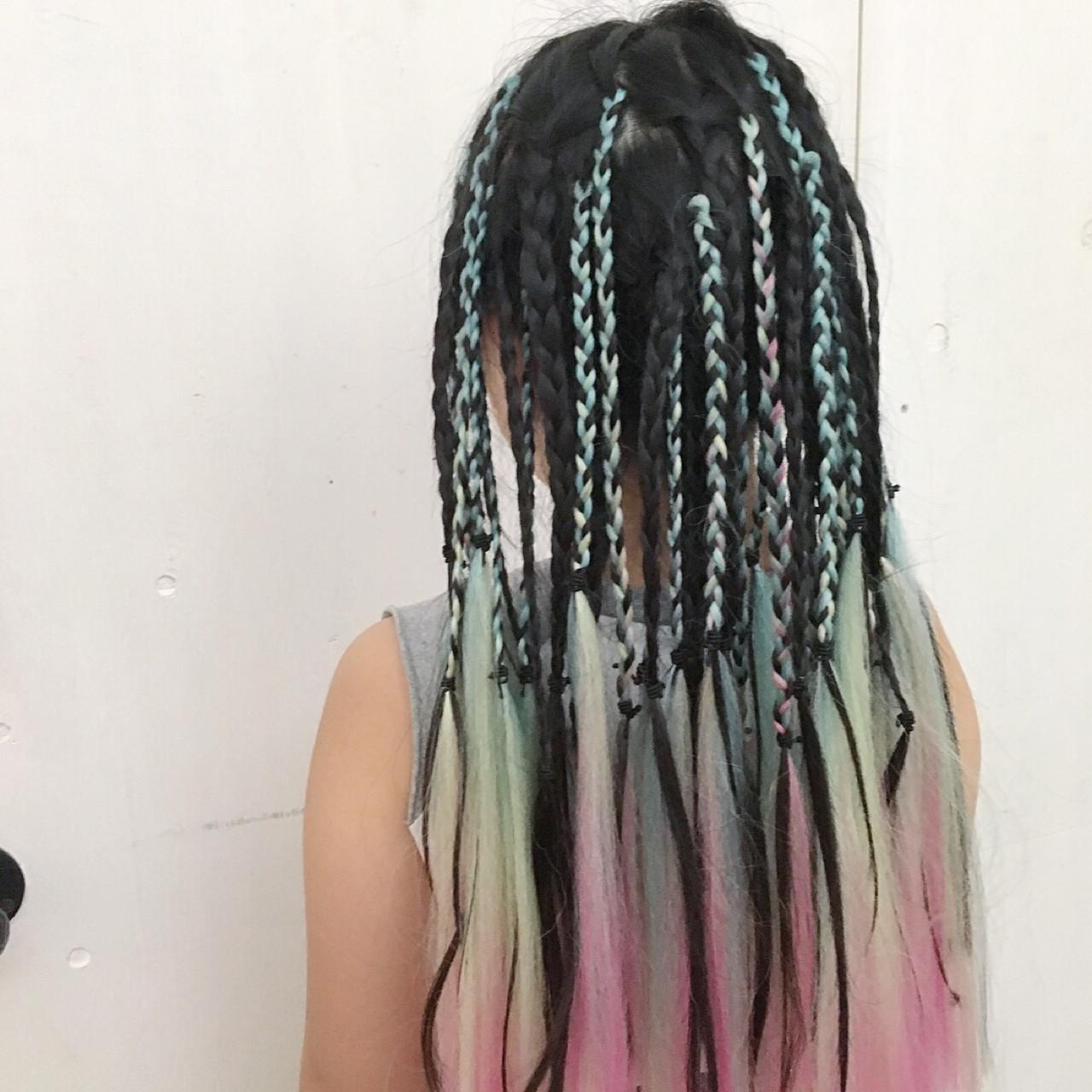 子供 ストリート セミロング コーンロウ ヘアスタイルや髪型の写真・画像