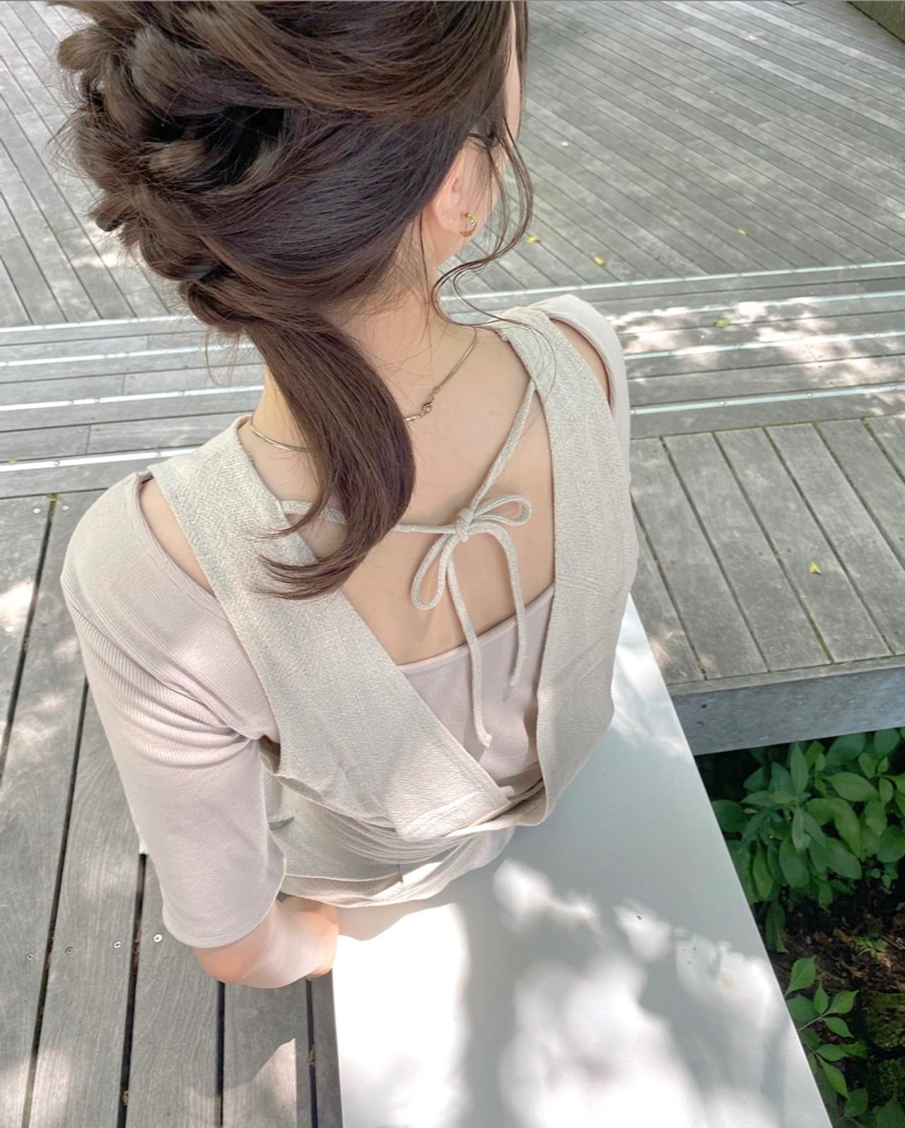 セミロング 韓国 簡単ヘアアレンジ セルフヘアアレンジ ヘアスタイルや髪型の写真・画像