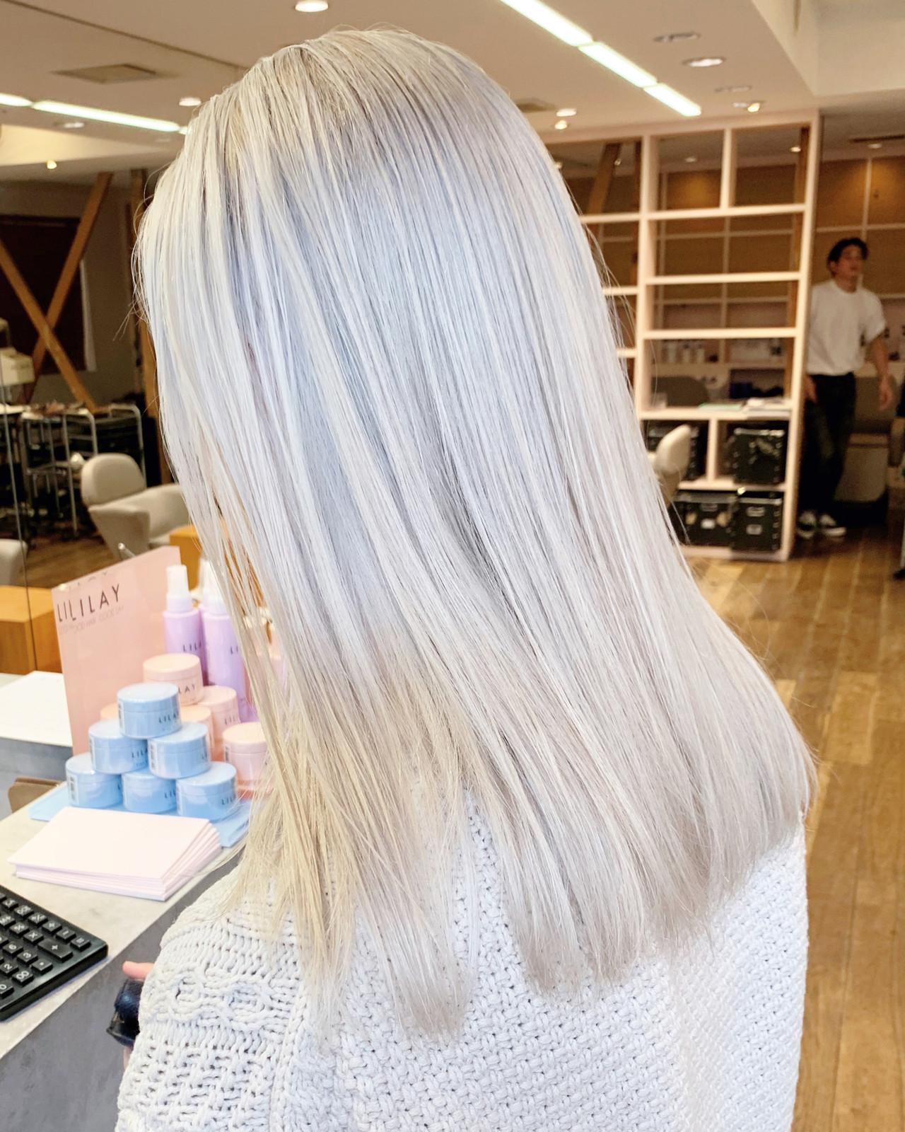 ハイトーンカラー セミロング ストリート ブロンドカラー ヘアスタイルや髪型の写真・画像