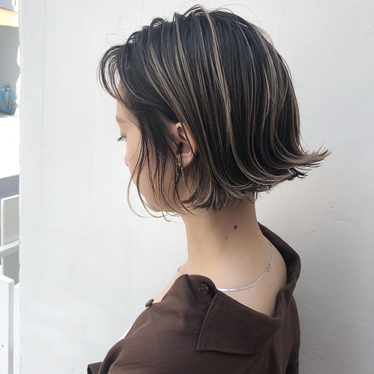 外国人風カラー ボブ パーマ アンニュイほつれヘア ヘアスタイルや髪型の写真・画像