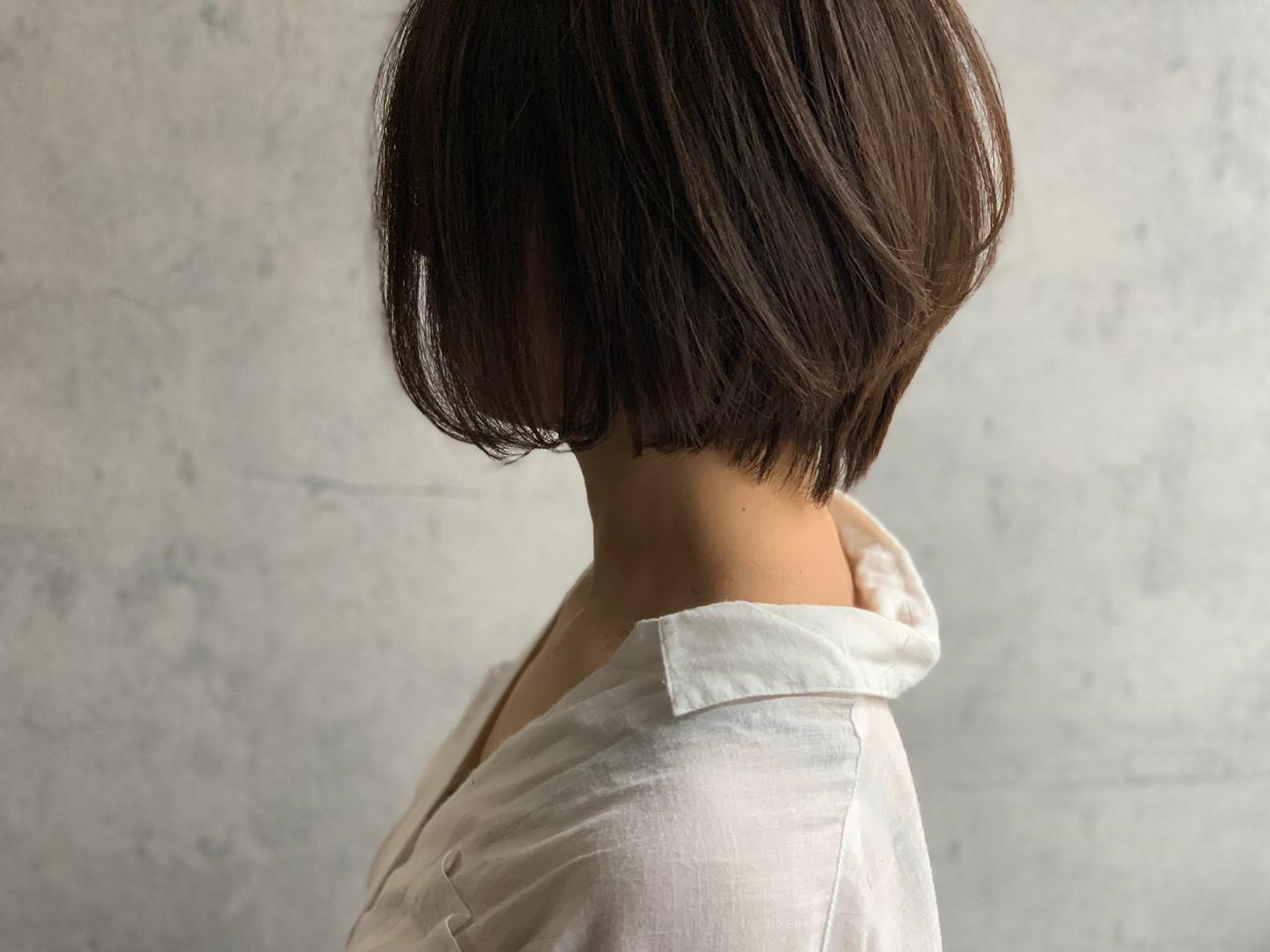内巻き ショートボブ ナチュラル くびれボブ ヘアスタイルや髪型の写真・画像