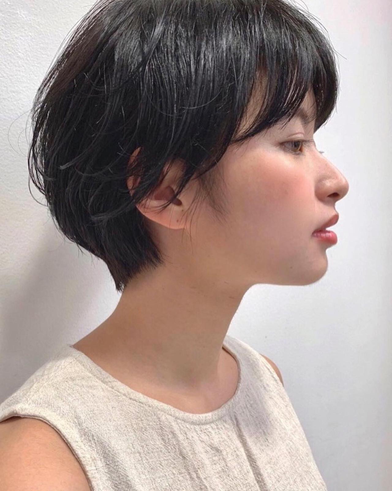 ボーイッシュ ナチュラル 黒髪 グレージュ ヘアスタイルや髪型の写真・画像