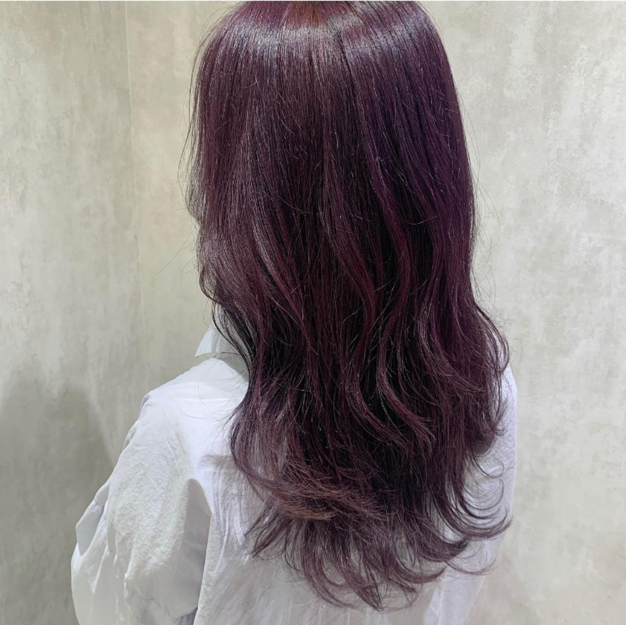 ラベンダーピンク ハイトーンカラー ブリーチカラー バイオレット ヘアスタイルや髪型の写真・画像