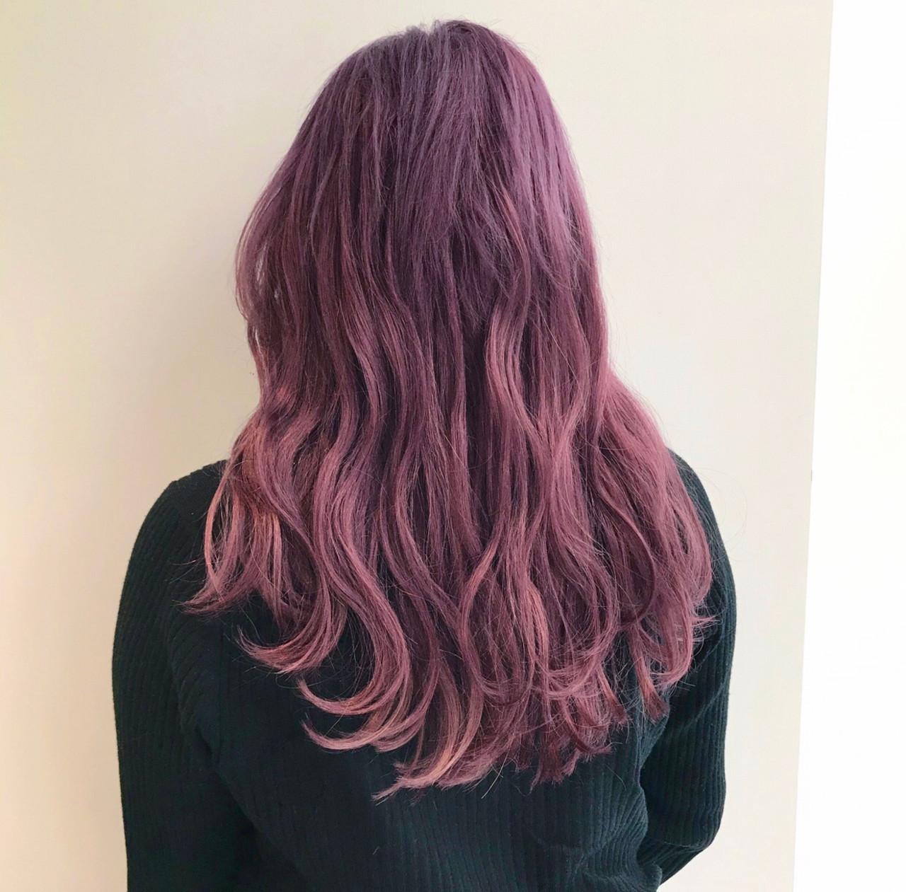 エクステ セミロング ピンクパープル ピンク ヘアスタイルや髪型の写真・画像