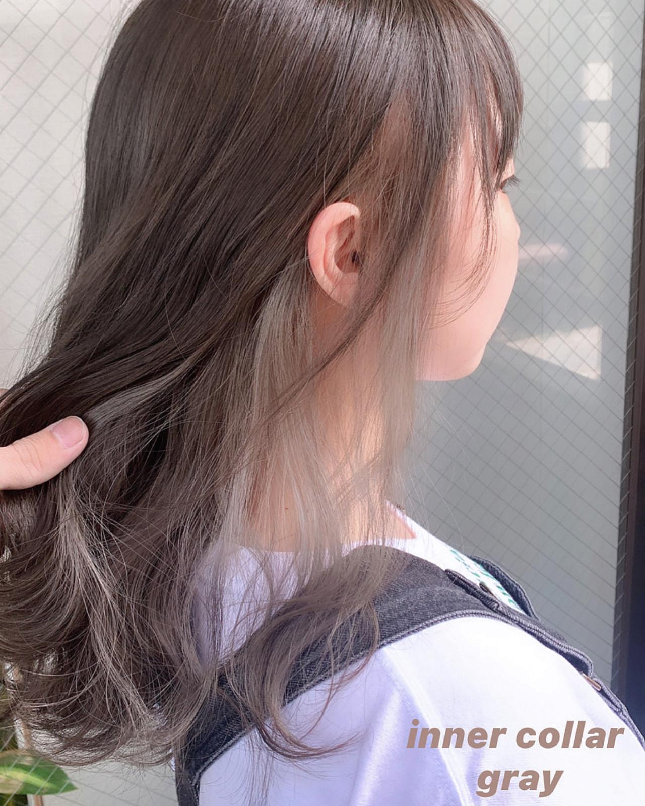 インナーカラー インナーカラーホワイト 外国人風カラー ナチュラル ヘアスタイルや髪型の写真・画像