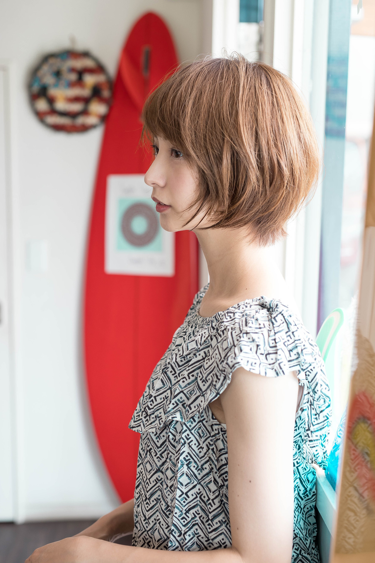ショート 丸顔 フェミニン ショートボブ ヘアスタイルや髪型の写真・画像
