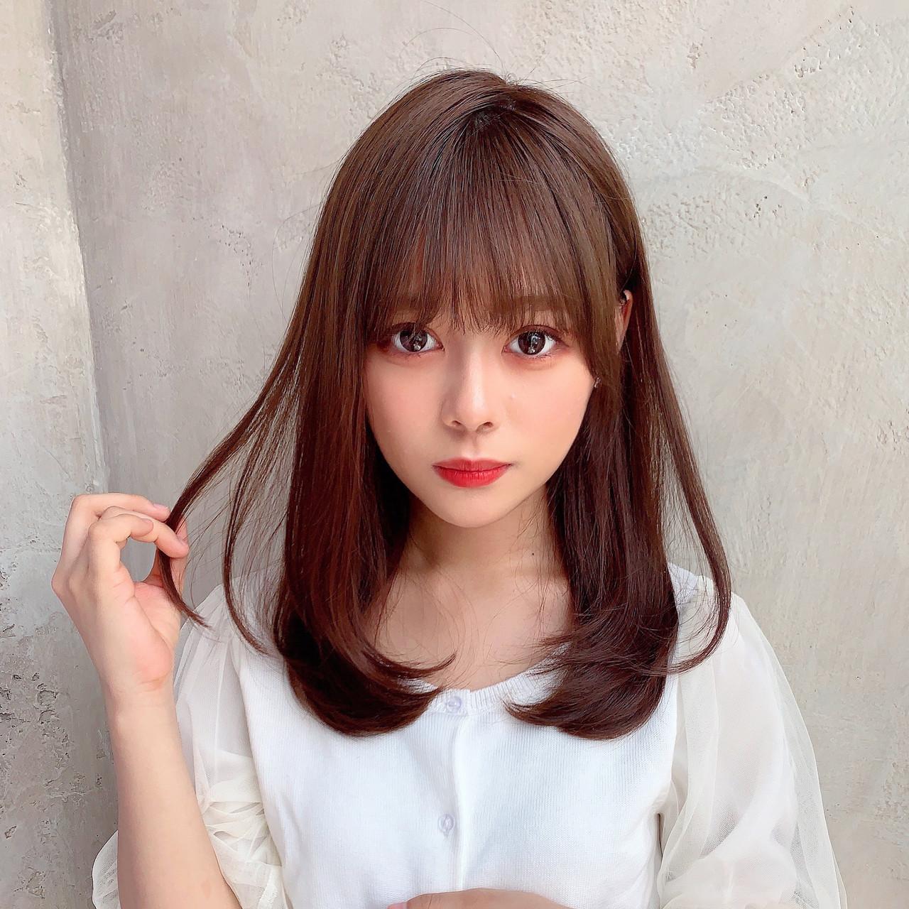 モテ髪 セミロング レイヤーロングヘア ナチュラル ヘアスタイルや髪型の写真・画像