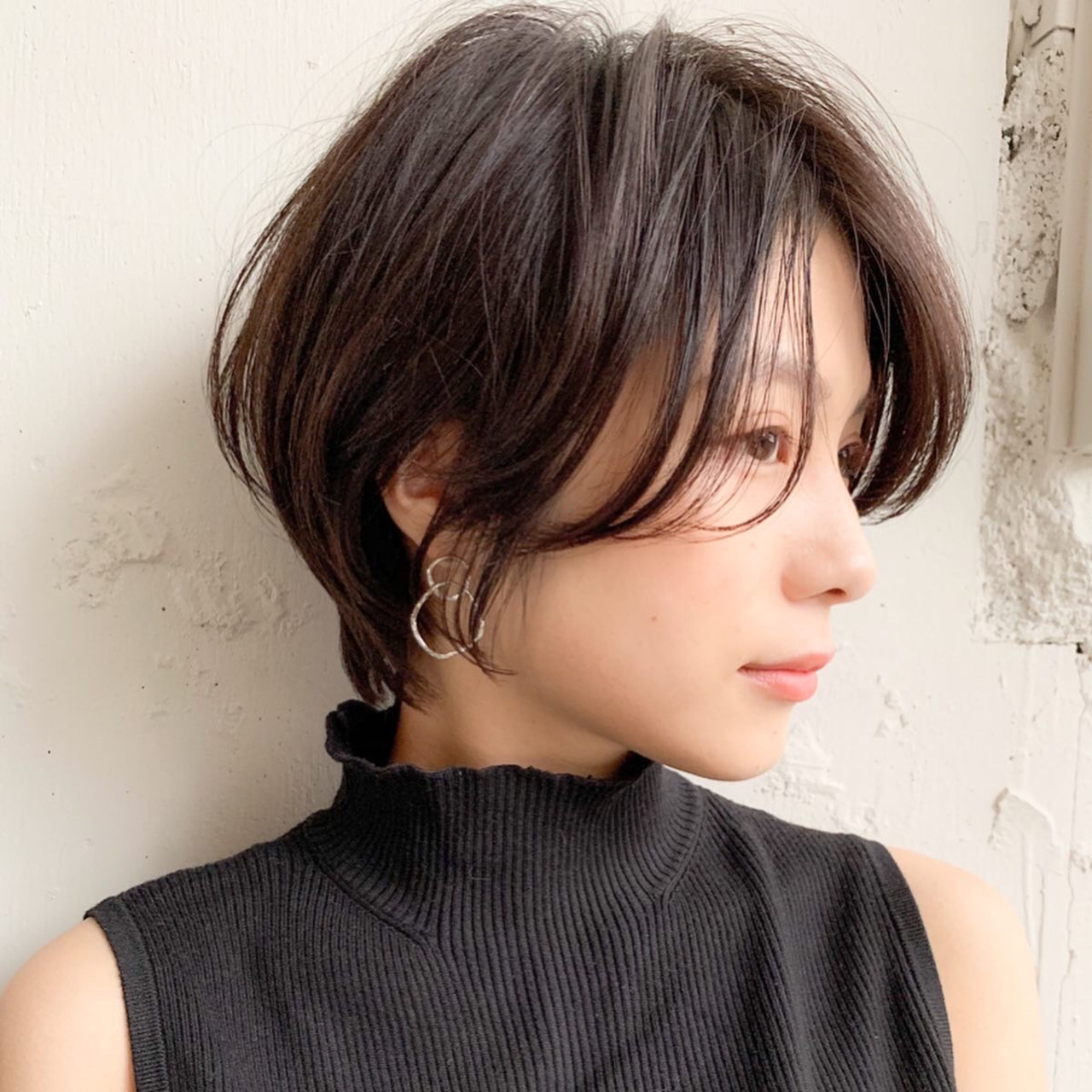 デジタルパーマ ショート ショートボブ インナーカラー ヘアスタイルや髪型の写真・画像