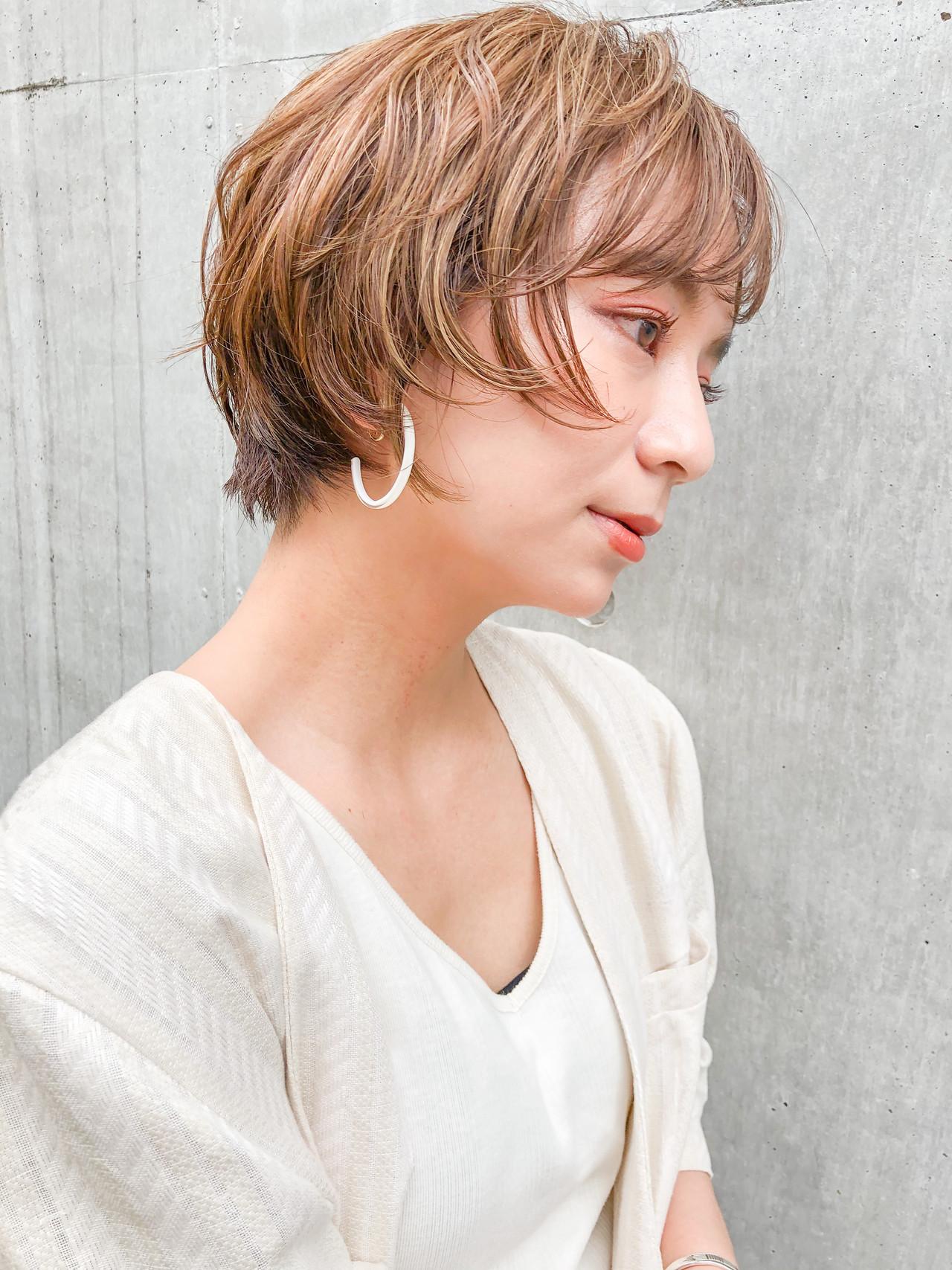 デジタルパーマ ナチュラル ショートカット ショート ヘアスタイルや髪型の写真・画像