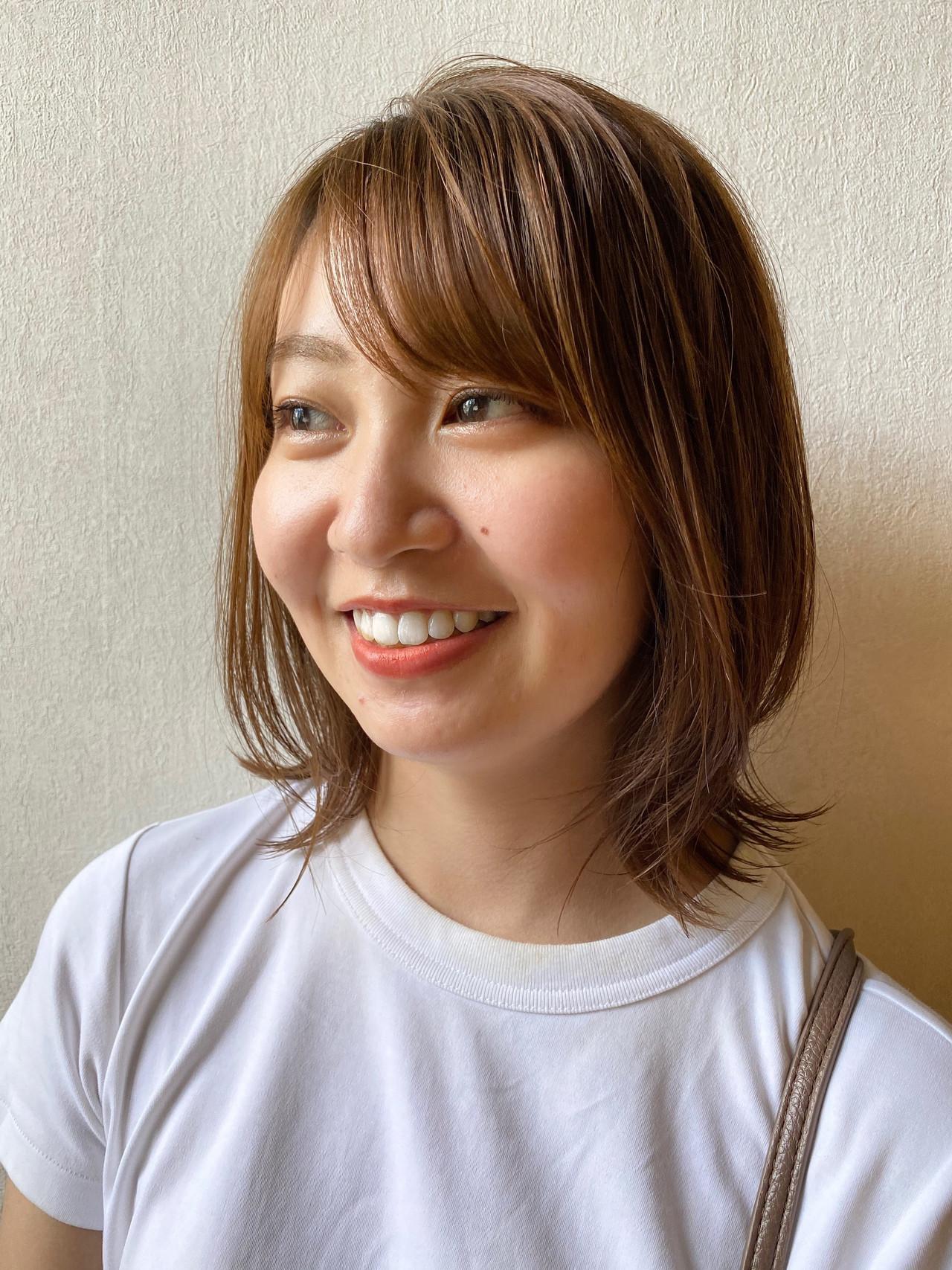 小顔ヘア ボブ オレンジカラー レイヤーボブ ヘアスタイルや髪型の写真・画像