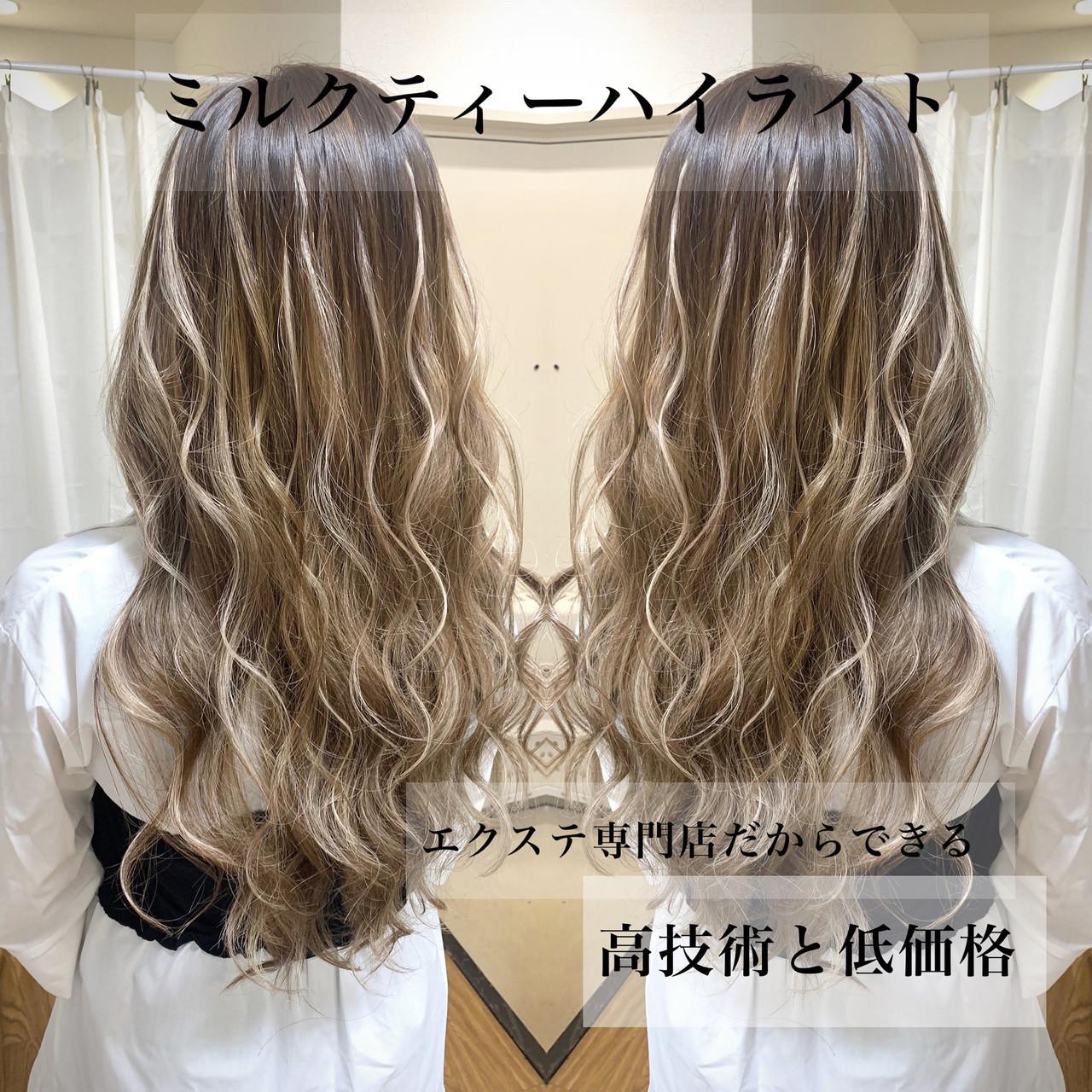 エクステ グラデーションカラー ロング ギャル ヘアスタイルや髪型の写真・画像