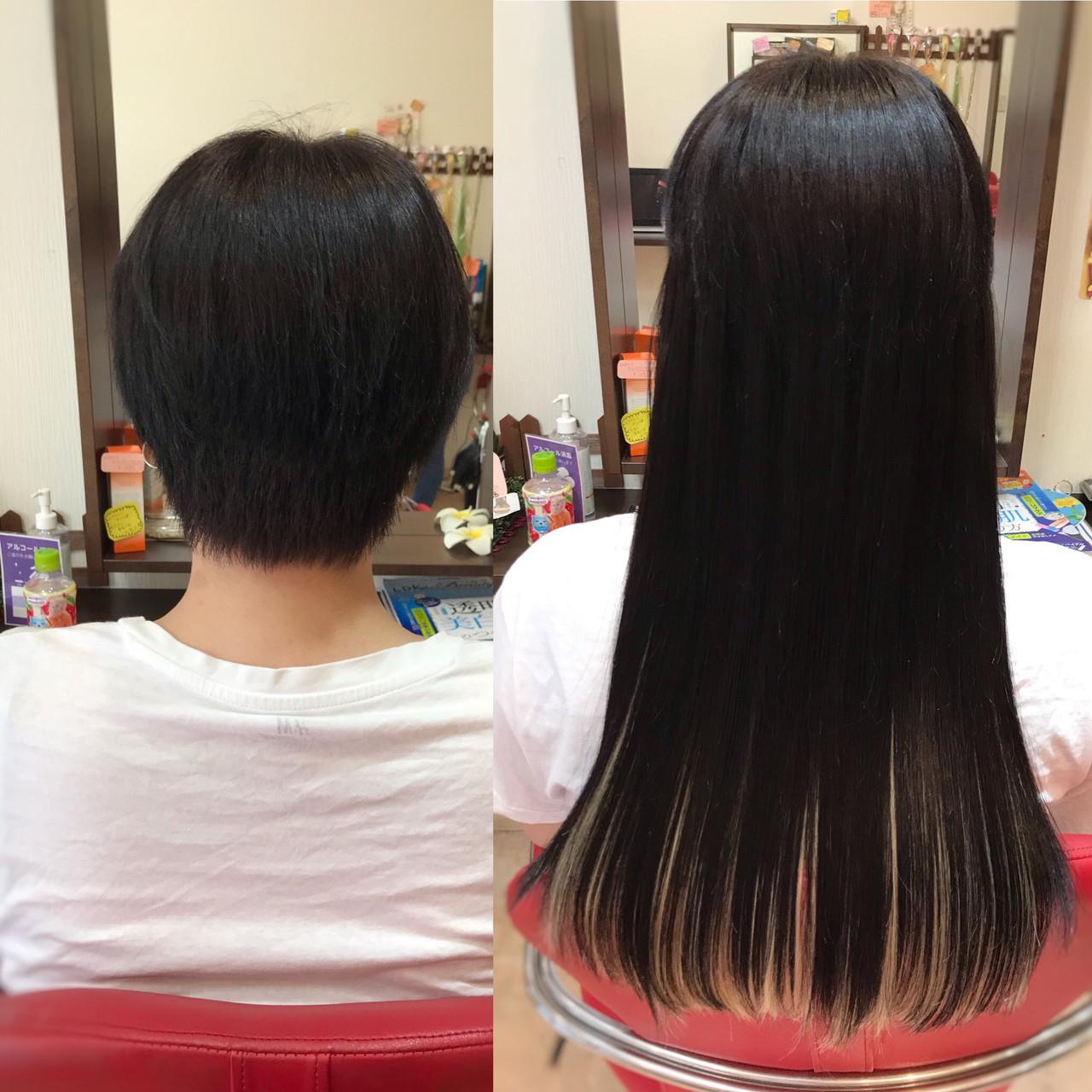 ナチュラル ハイライト エクステ インナーカラー ヘアスタイルや髪型の写真・画像
