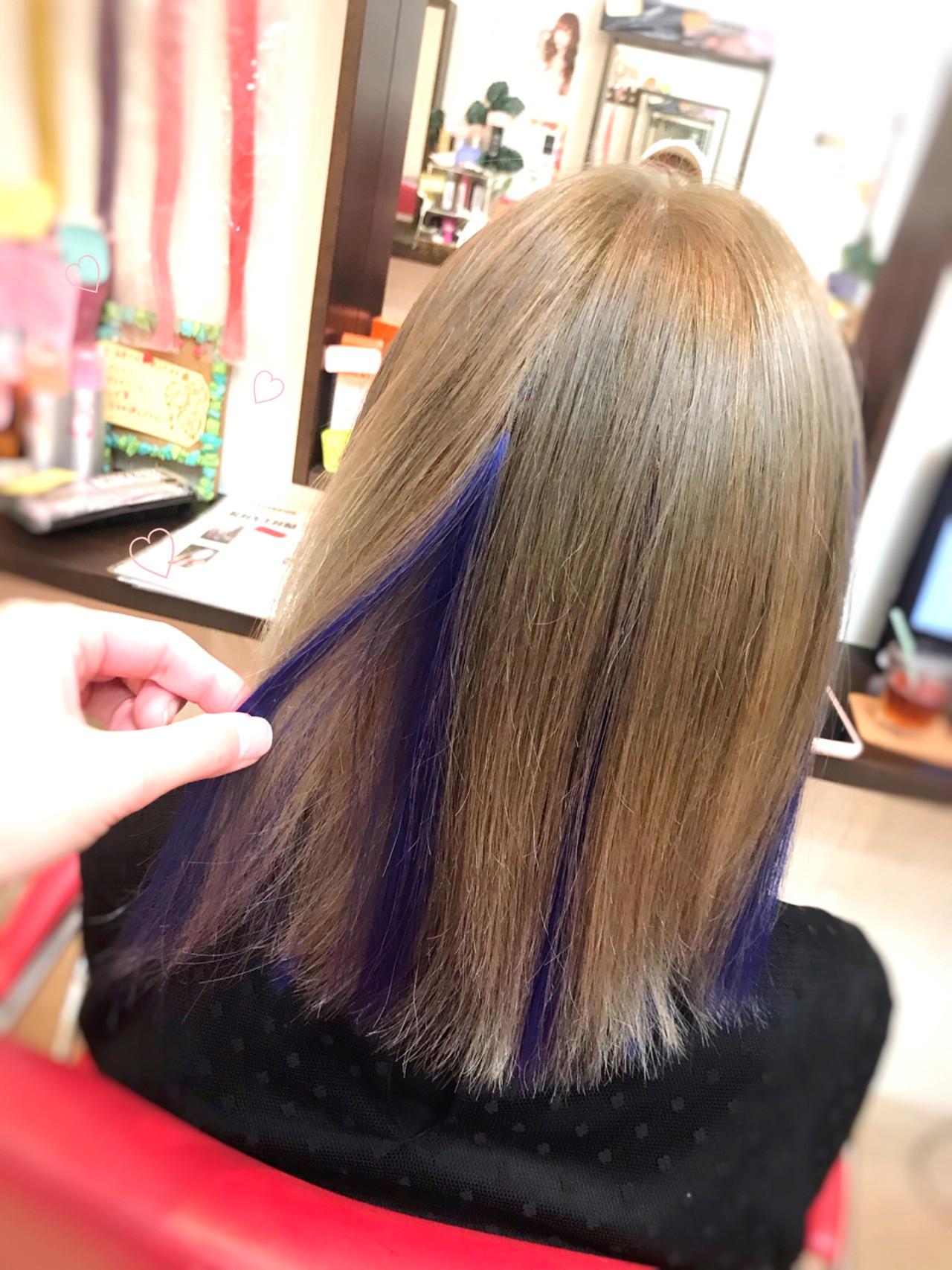エクステ ハイトーン ストリート ブルー ヘアスタイルや髪型の写真・画像