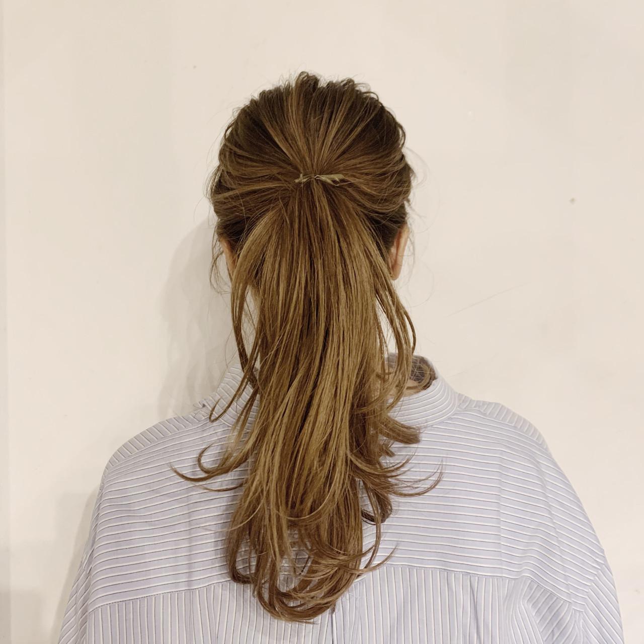 リボンアレンジ ポニーテールアレンジ ミディアム ヘアアレンジ ヘアスタイルや髪型の写真・画像