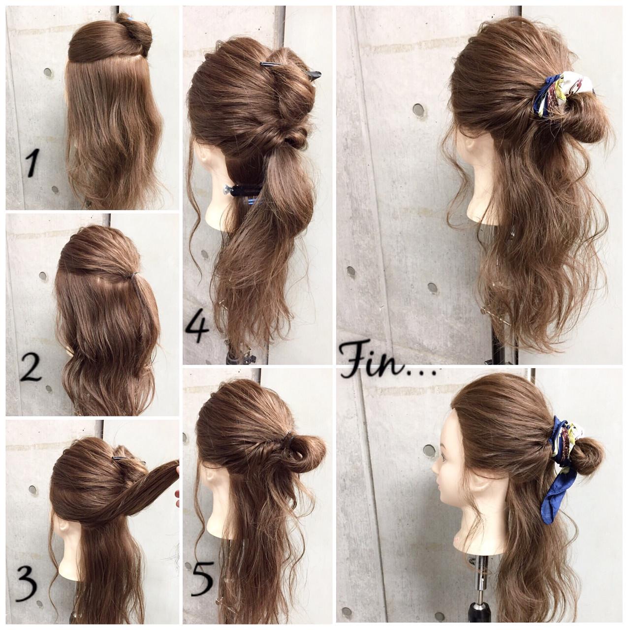 セミロング ヘアアクセ 簡単ヘアアレンジ ヘアアレンジ ヘアスタイルや髪型の写真・画像