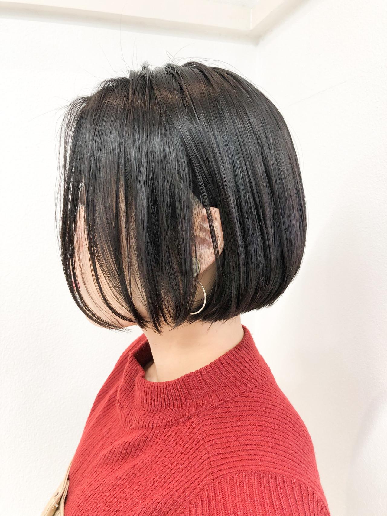 福岡市 ナチュラル 黒髪 ミニボブ ヘアスタイルや髪型の写真・画像