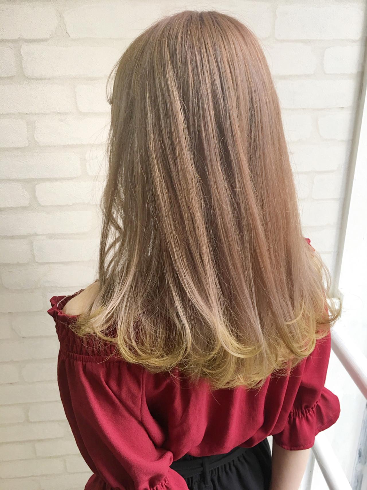 ヘアアレンジ ガーリー セミロング イエロー ヘアスタイルや髪型の写真・画像