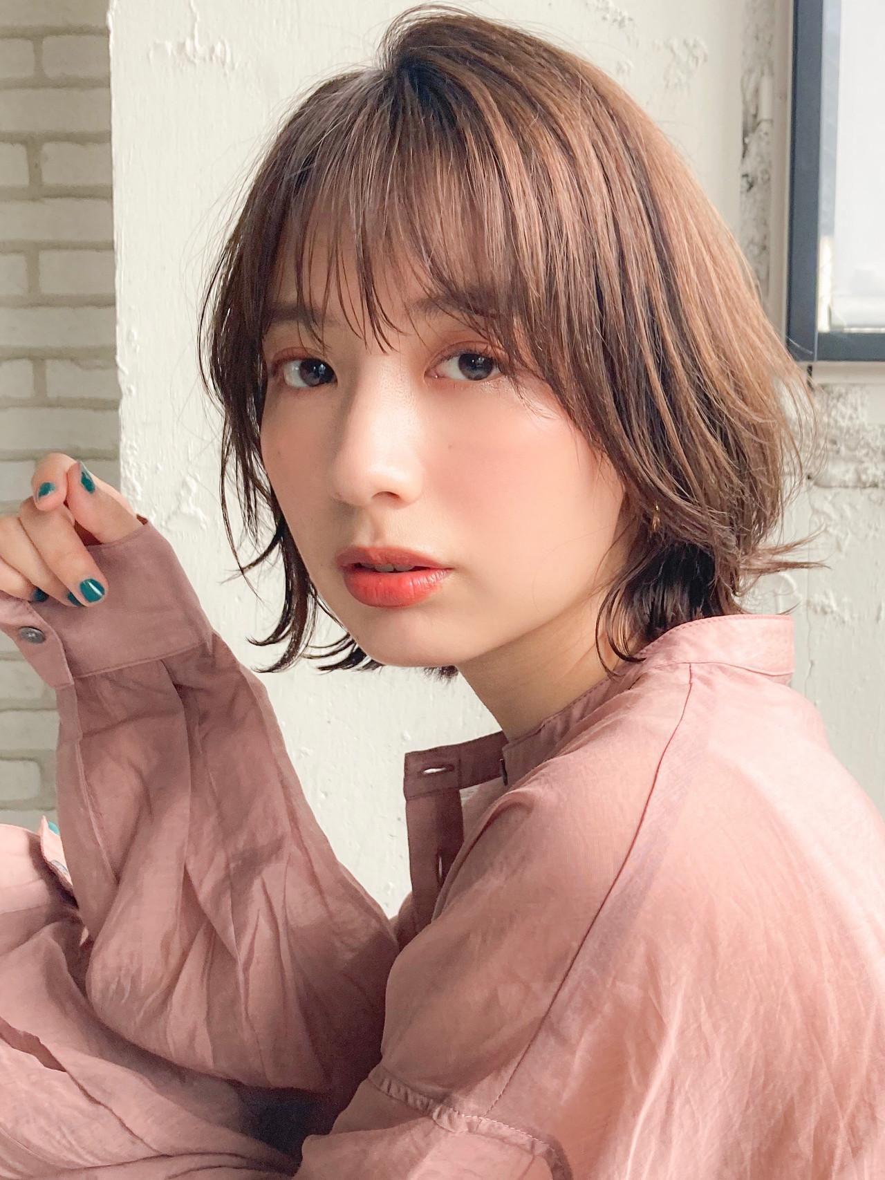 コンサバ ひし形シルエット デジタルパーマ 外ハネボブ ヘアスタイルや髪型の写真・画像